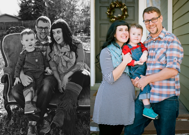 black and white and color photos of a hip loving family with young boy in Loveland, Colorado. Film family portraits by Sonja Salzburg of Sonja K Photography.