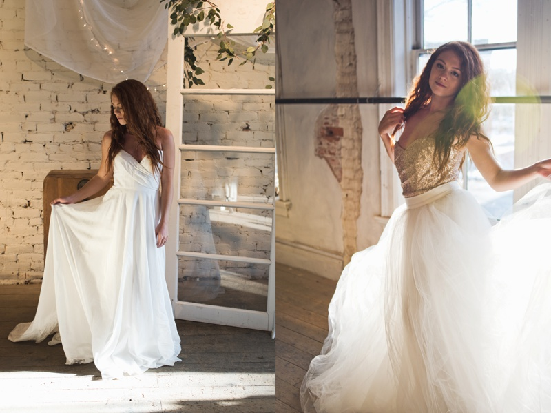A beautiful sunlit bride in two different flowing wedding dresses from Pure Magnolia. Styled shoot and film photography by Sonja Salzburg of Sonja K Photography.
