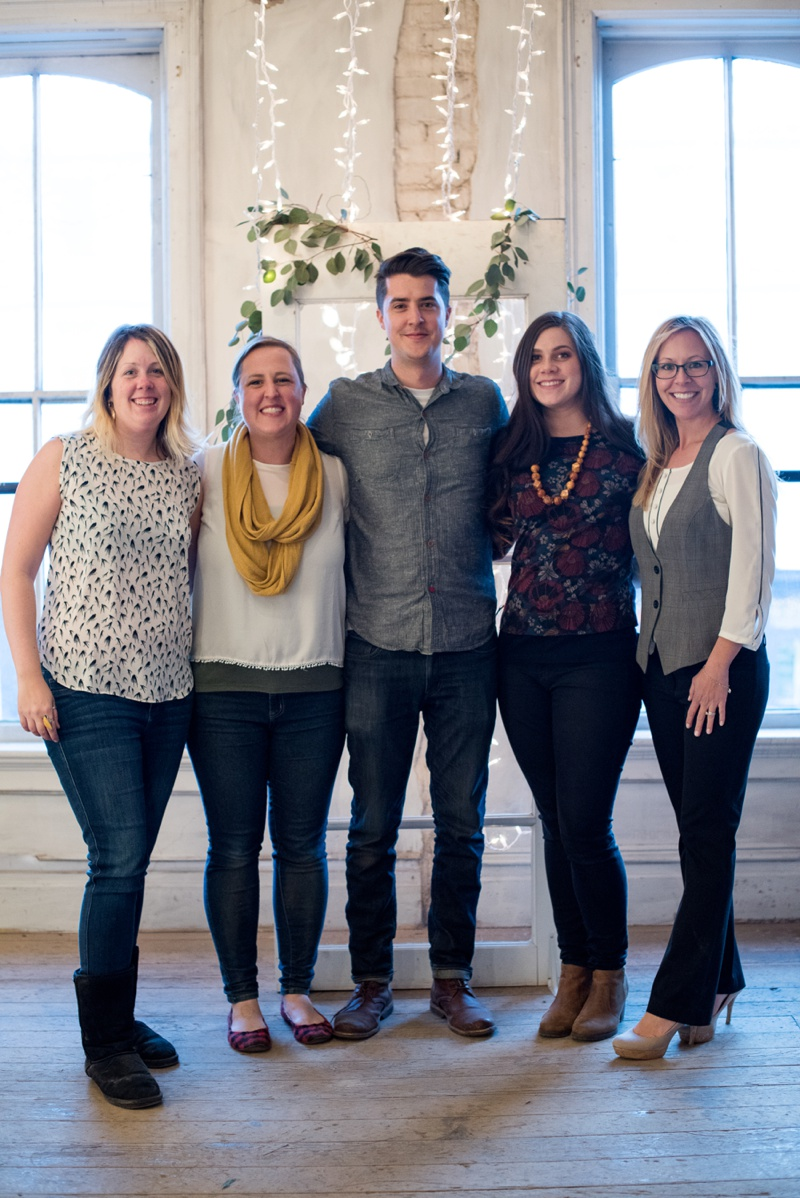 Cheers Creative group photo. Sonja Salzburg (Sonja K Photography), Sommer Nunan (Sommer Lyn Event Design), Andy Carrasco (Studio Carrasco Films), Natalie Carrasco (Avo Ink), and Emily Birdsall (Jolly Events). Film photography by Max Salzburg of Sonja K Photography.