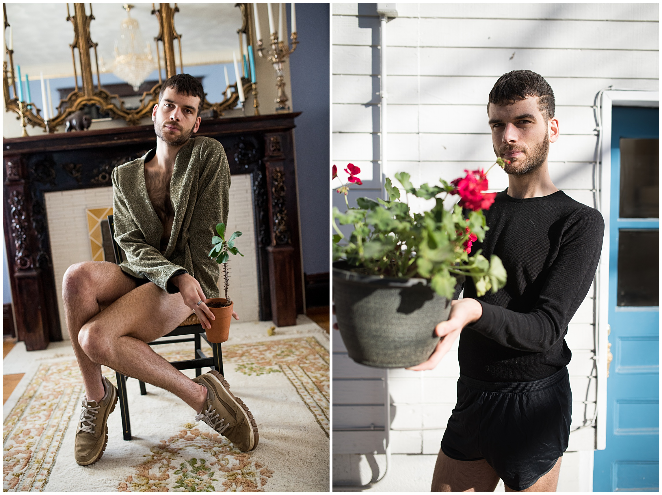 Beautiful dancer portraits by Sonja K Photography holding plants in an LGBTQ house in Denver, Colorado.