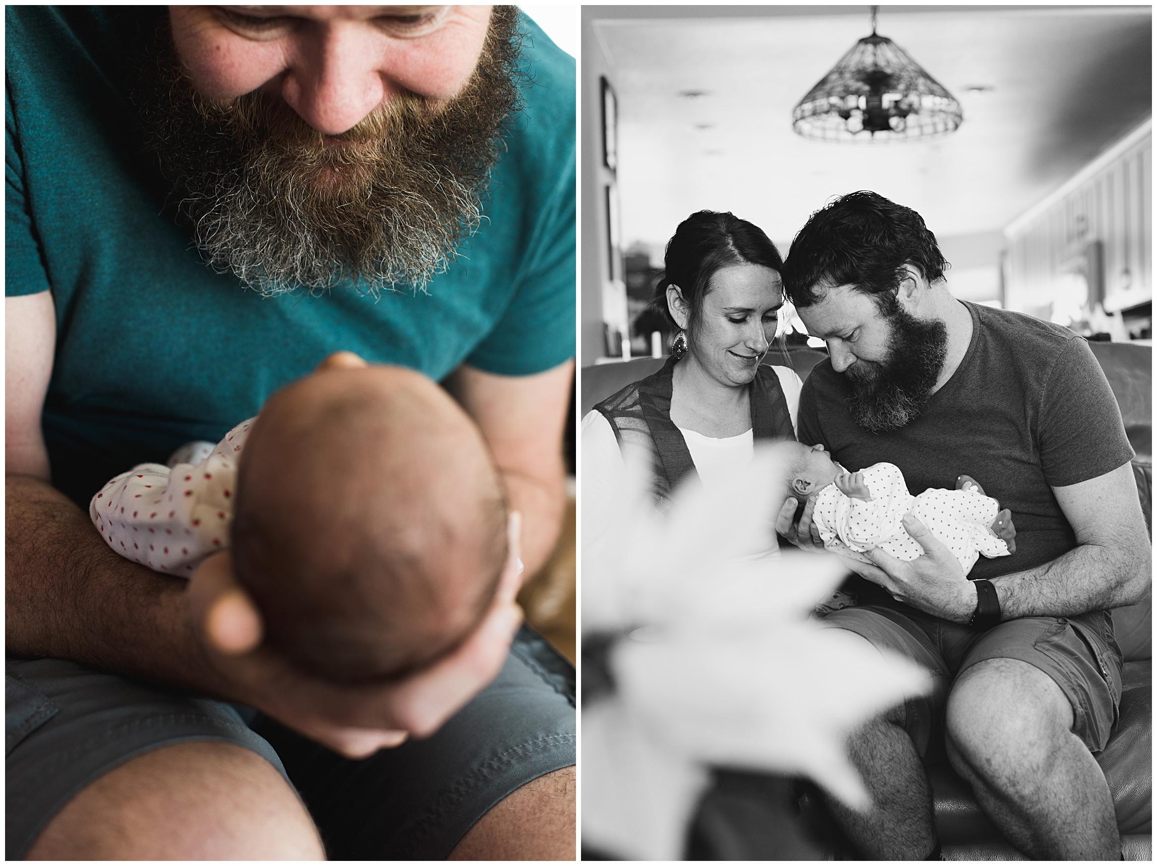 Proud parents hold their sleeping newborn baby girl. Film family portraits by Sonja Salzburg of Sonja K Photography.