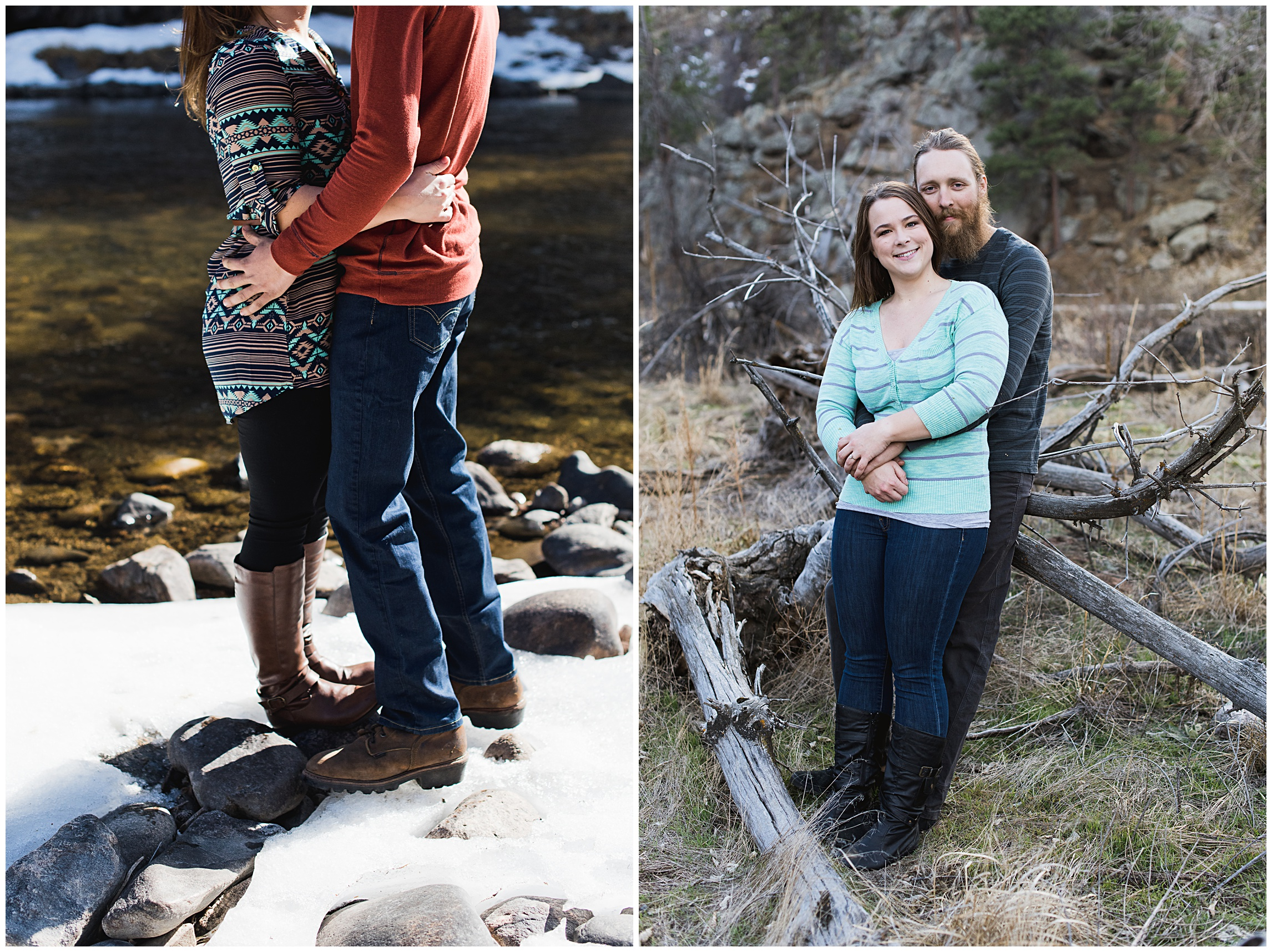 an adorable couple shot by Sonja K Photography on a snowy spring day in Gateway Park up the Poudre Canyon by the Poudre River for an engagement session