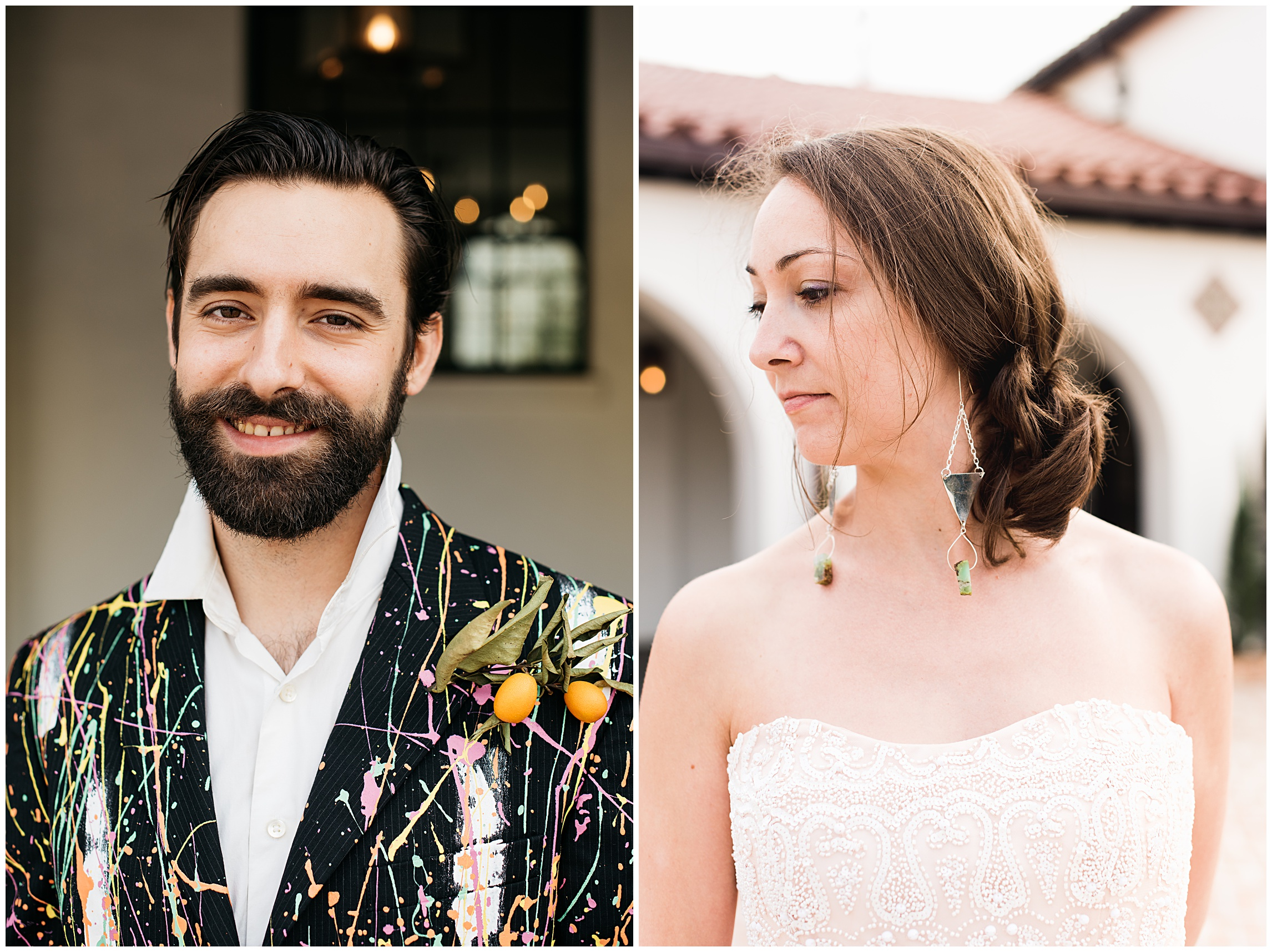 A groom in a colorful artistic blazer and a bride in the warm New Orleans light. Blazer by Charles Anderson of 1 of 1 Blazers. Handmade earrings by Brynna Mollahan of Lunar Fringe Outpost. Film photography by Sonja Salzburg of Sonja K Photography.