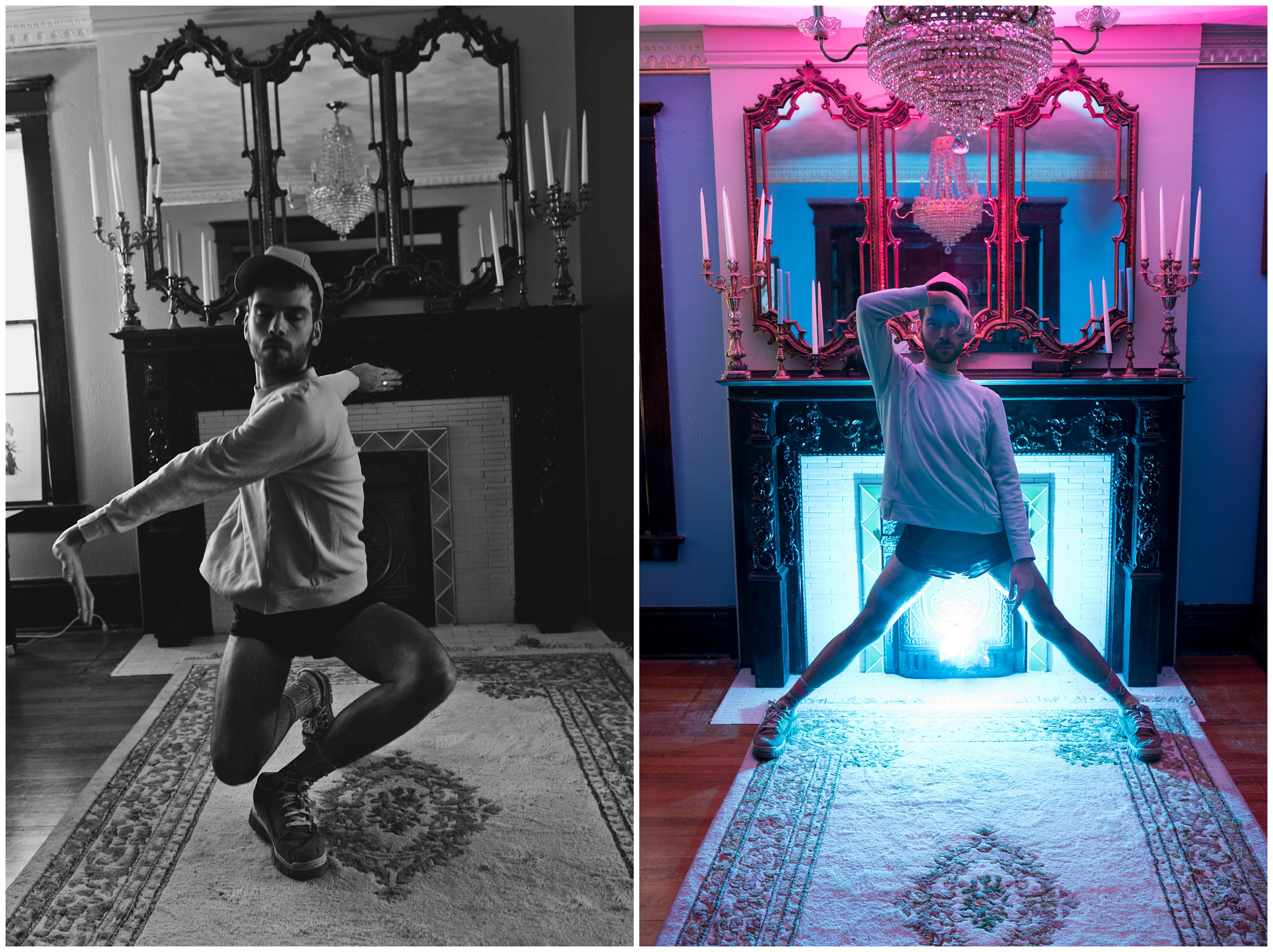 Ryan Page in action, dancing in a darkly lit room in Denver, Colorado with a fancy chandelier. Portrait of a dancer photographed by Sonja K Photography.