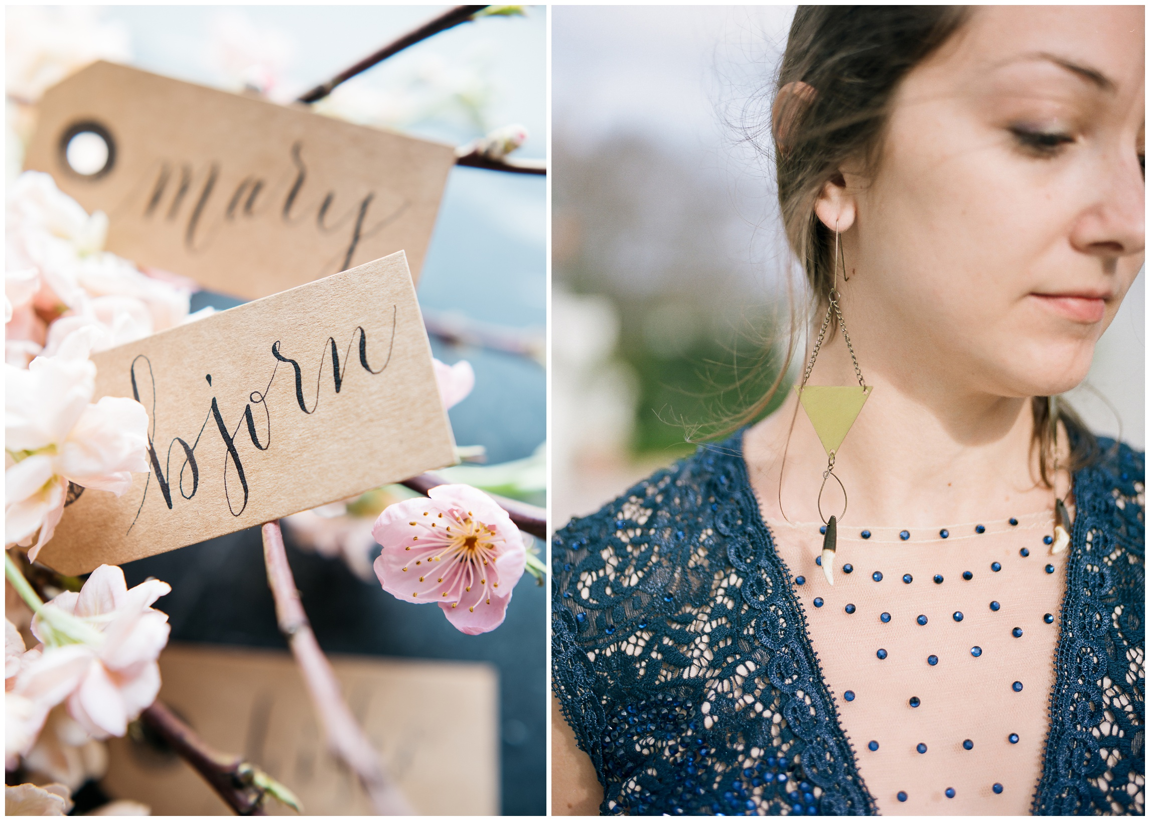 Calligraphy by Natalie Carrasco of Avo Ink. Handmade earrings by Brynna Mollahan of Lunar Fringe Outpost. Film photography by Sonja Salzburg of Sonja K Photography.