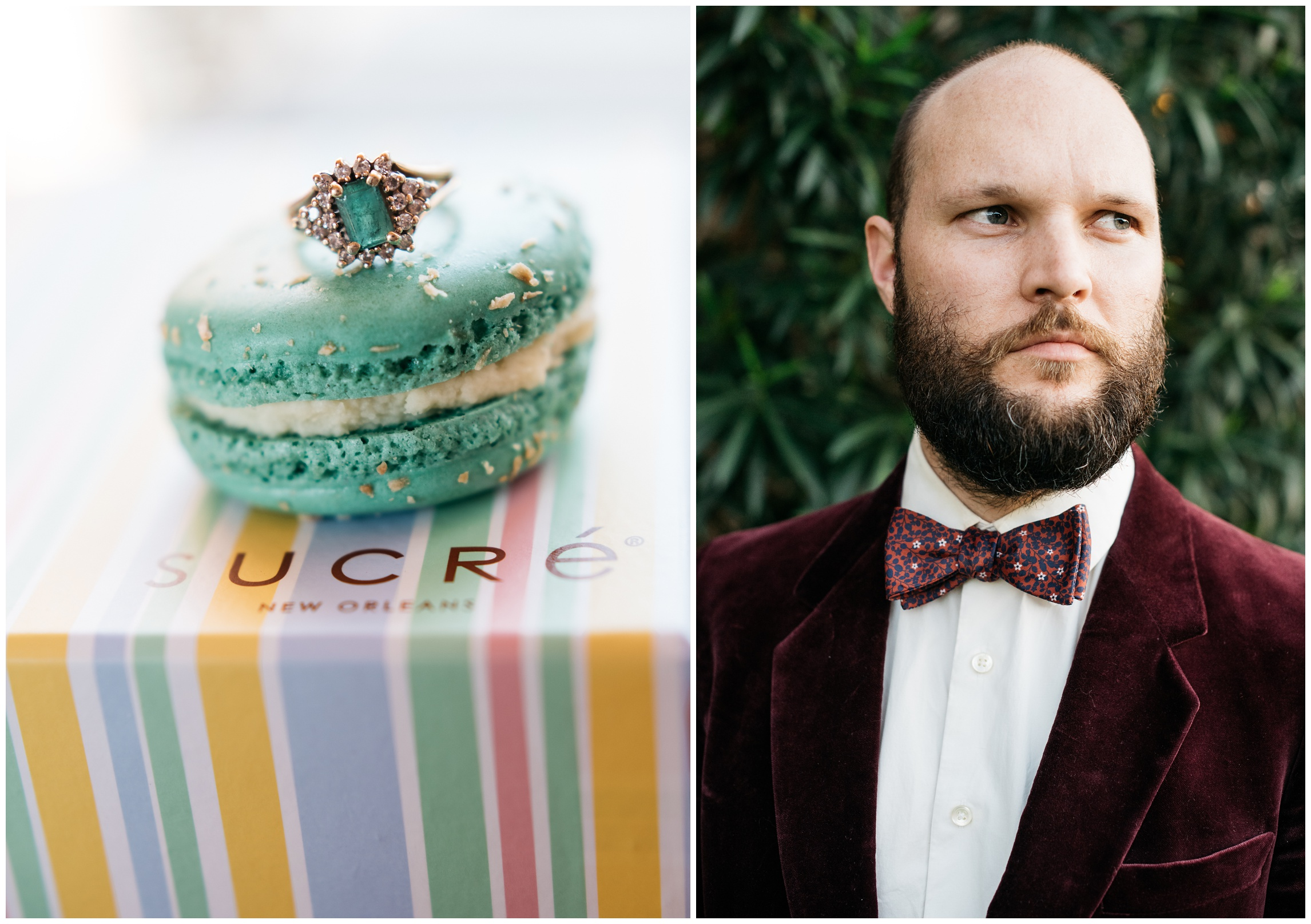 French macaroons by Sucre. Bow tie by Knotty Tie. Film product photography by Sonja Salzburg of Sonja K Photography.
