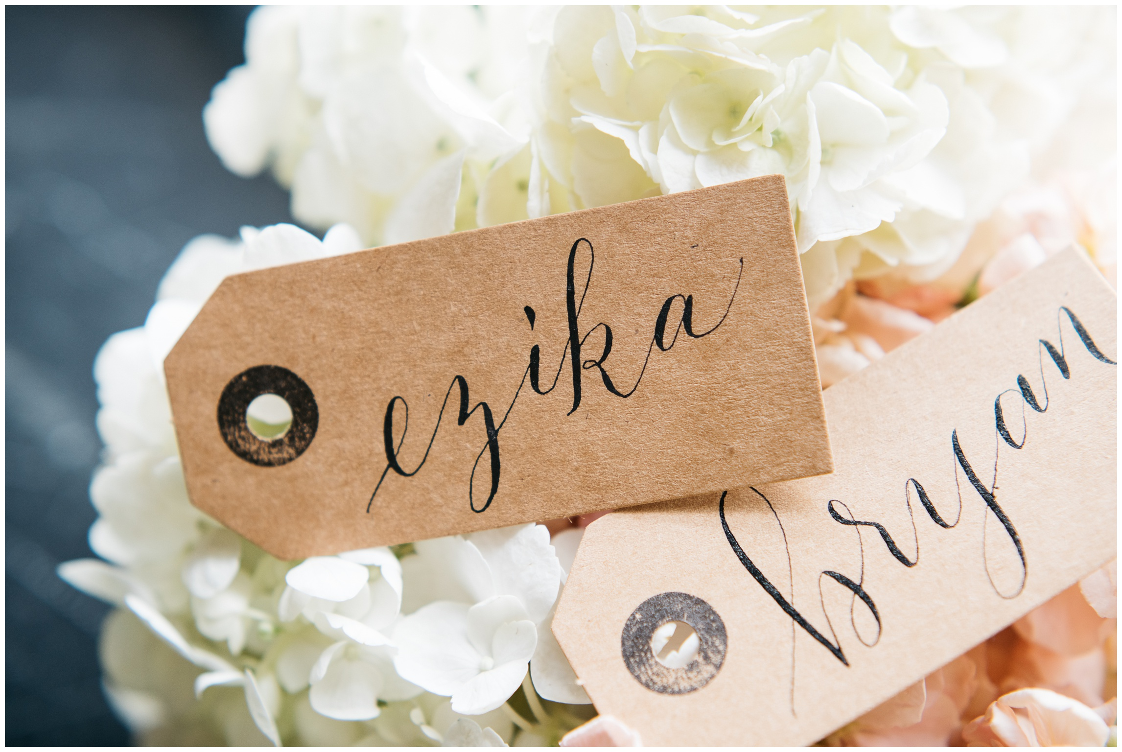 Beautifully hand written name tags on white flowers in the soft New Orleans light.  Calligraphy by Natalie Carrasco of Avo Ink. Film photography by Sonja Salzburg of Sonja K Photography.