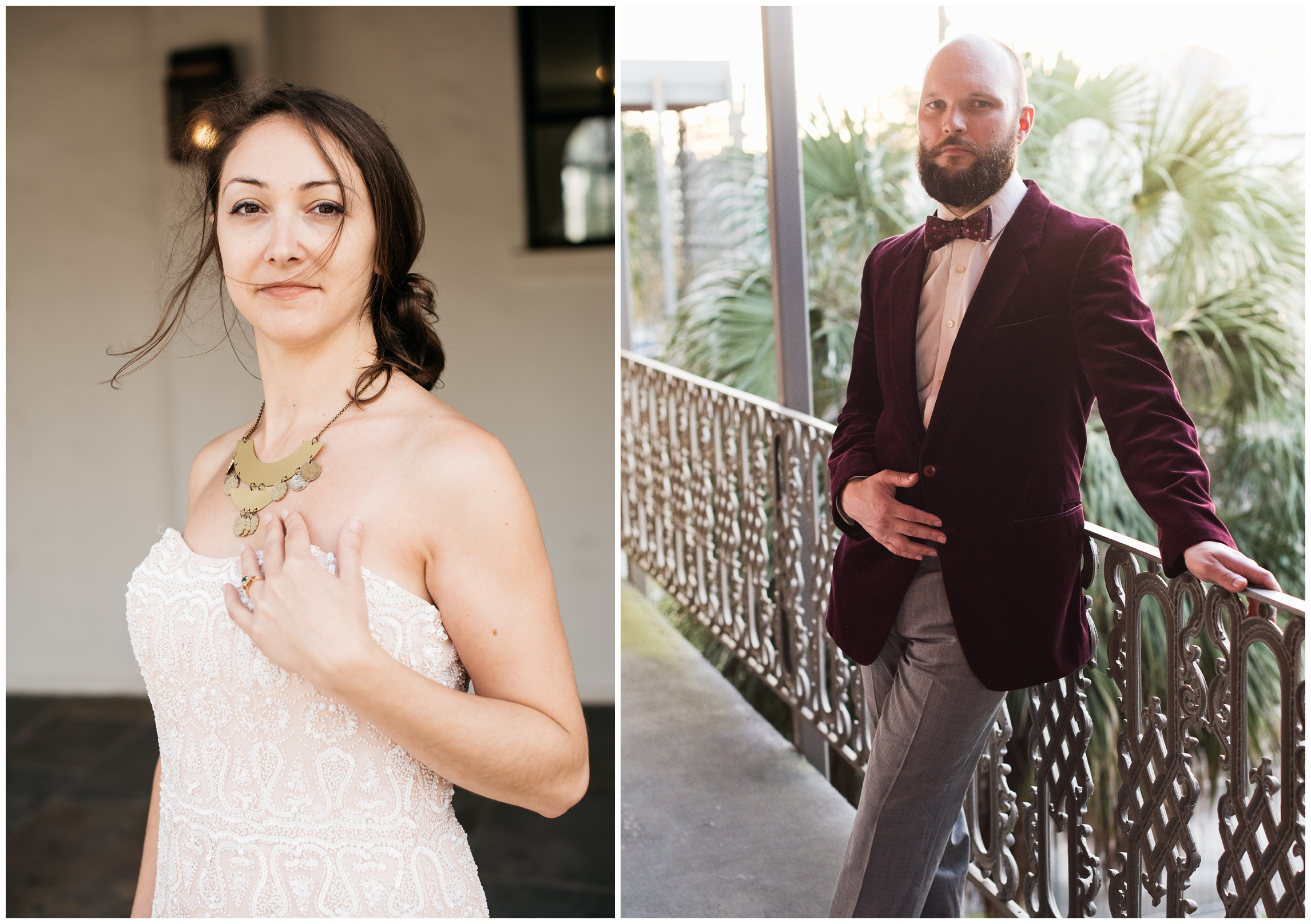 Magalie and Bryan. Necklace by Brynna Mollahan of Lunar Fringe Outpost. Bow tie by Knotty Tie. Film portraits by Sonja Salzburg of Sonja K Photography.