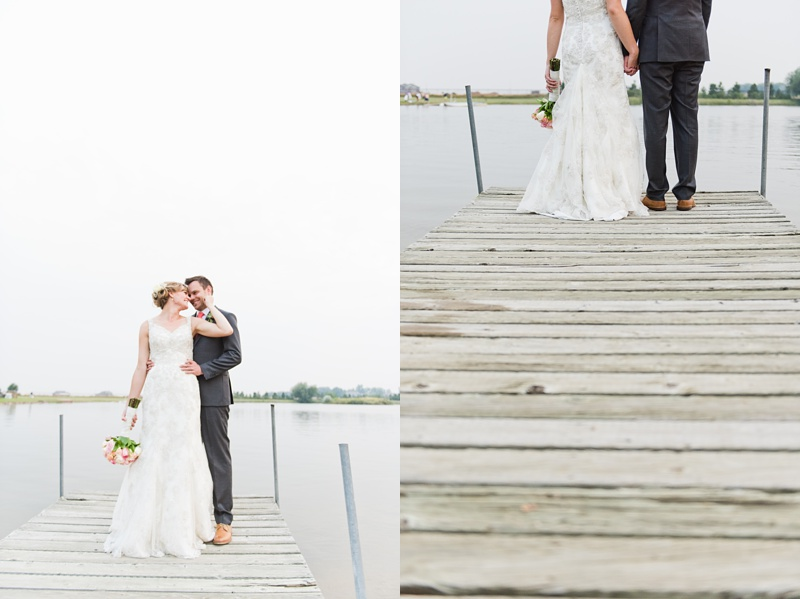 A newly married couple on a wooden dock in Colorado. Wedding photography by Sonja Salzburg of Sonja K Photography.