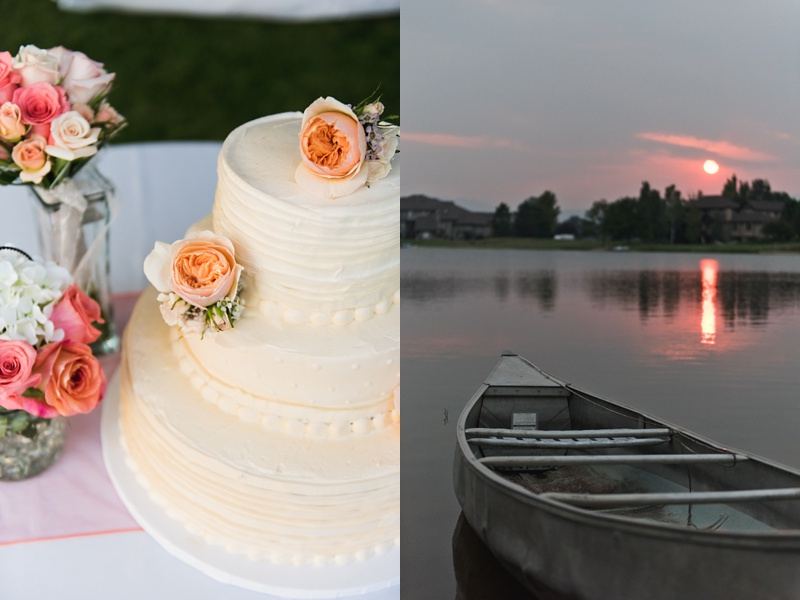 A beautiful white wedding cake decorated with roses. A canoe on a lake at sunset. Wedding detail photography by Sonja Salzburg of Sonja K Photography.