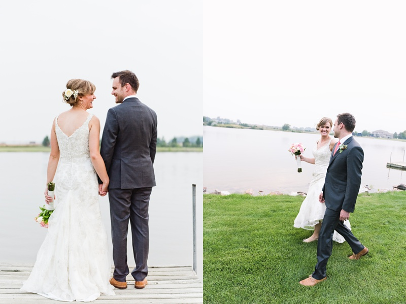 A happy couple walk from the dock to their wedding reception on a warm summer evening. Wedding photography by Sonja Salzburg of Sonja K Photography.