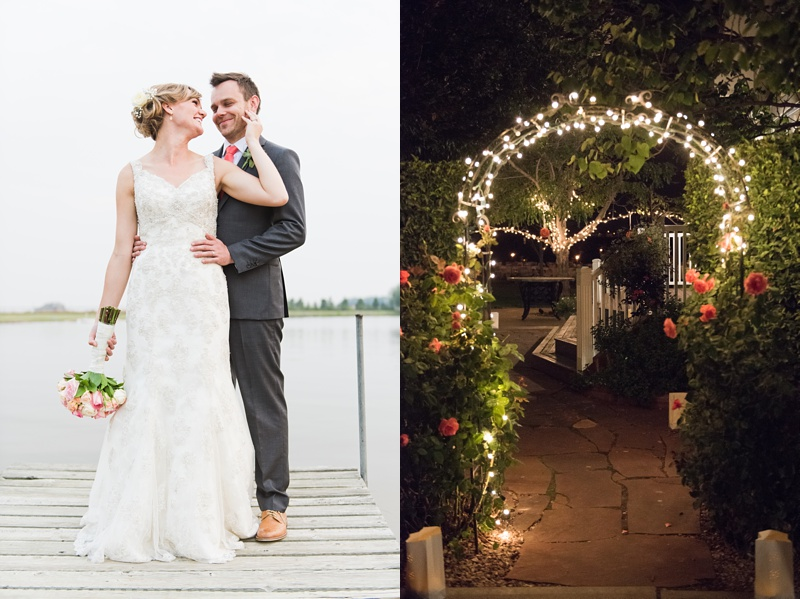 A couple shares a moment on a dock in Colorado. A lighted arch at their wedding reception. Wedding photography by Sonja Salzburg of Sonja K Photography.