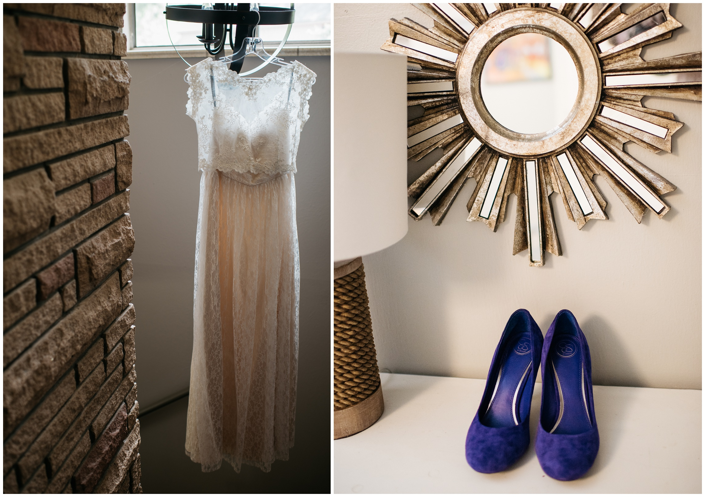 A brides dress and shoes wait for the big day in a warm sun lit dressing room. Wedding photography by Sonja Salzburg of Sonja K Photography.