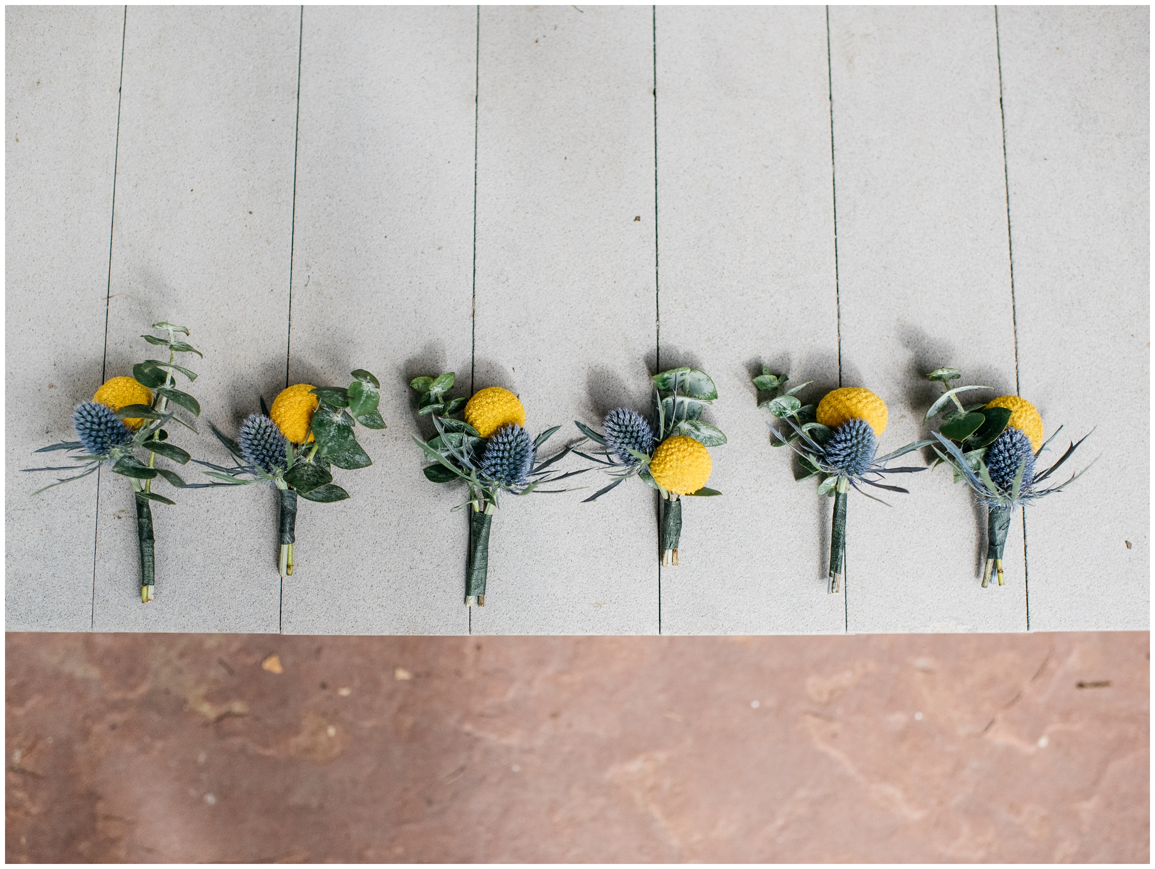 Colorful boutonnieres about to be pinned on the groomsmen. Wedding photography by Sonja Salzburg of Sonja K Photography.