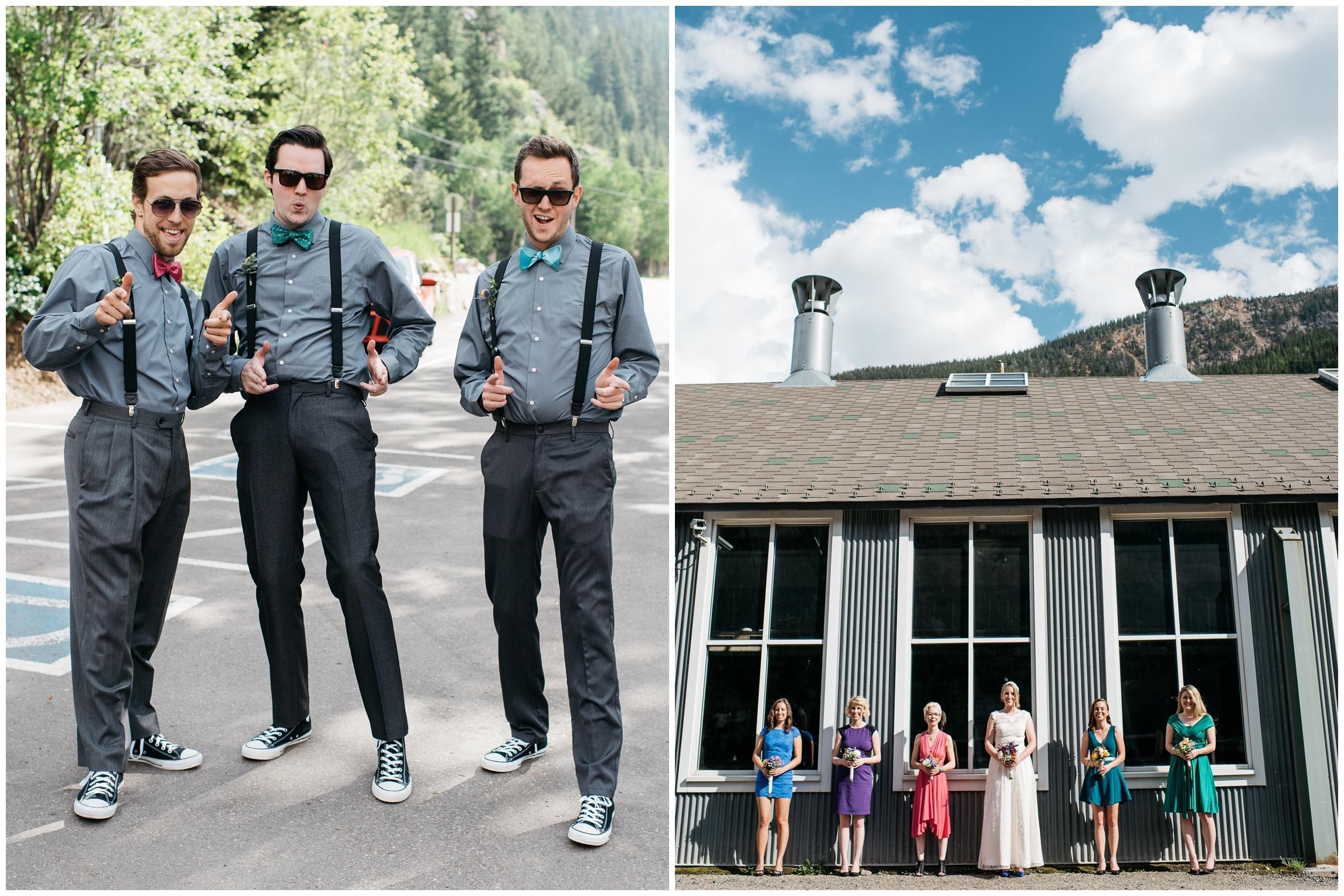 Groomsmen ham it up for the camera while bridesmaids look pretty in Georgetown, Colorado. Wedding photography by Sonja Salzburg of Sonja K Photography.