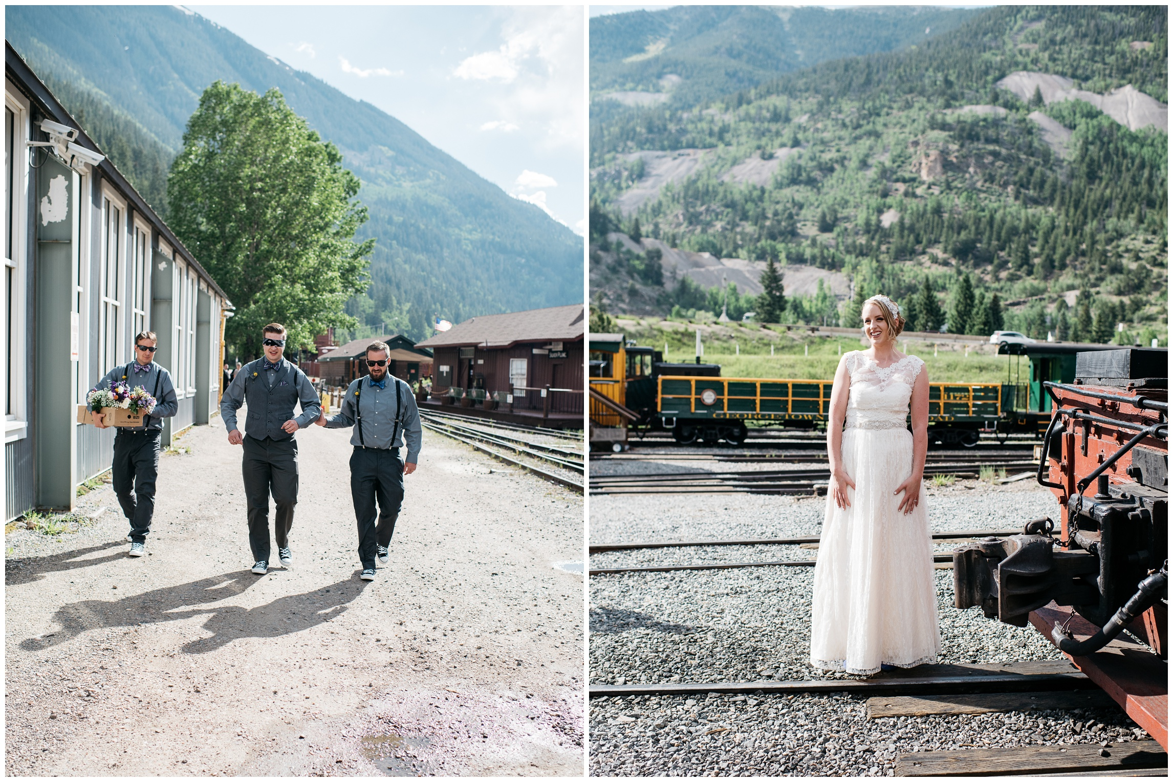 Groomsmen prepare for the wedding while a bride poses in the warm Goergetown, Colorado light. Wedding photography by Sonja Salzburg of Sonja K Photography.