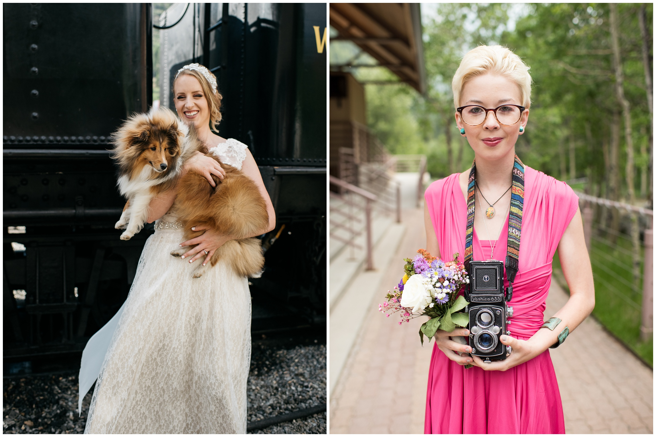 A bride poses with her adorable corgi. A bridesmaid and her antique camera. Wedding photography by Sonja Salzburg of Sonja K Photography.