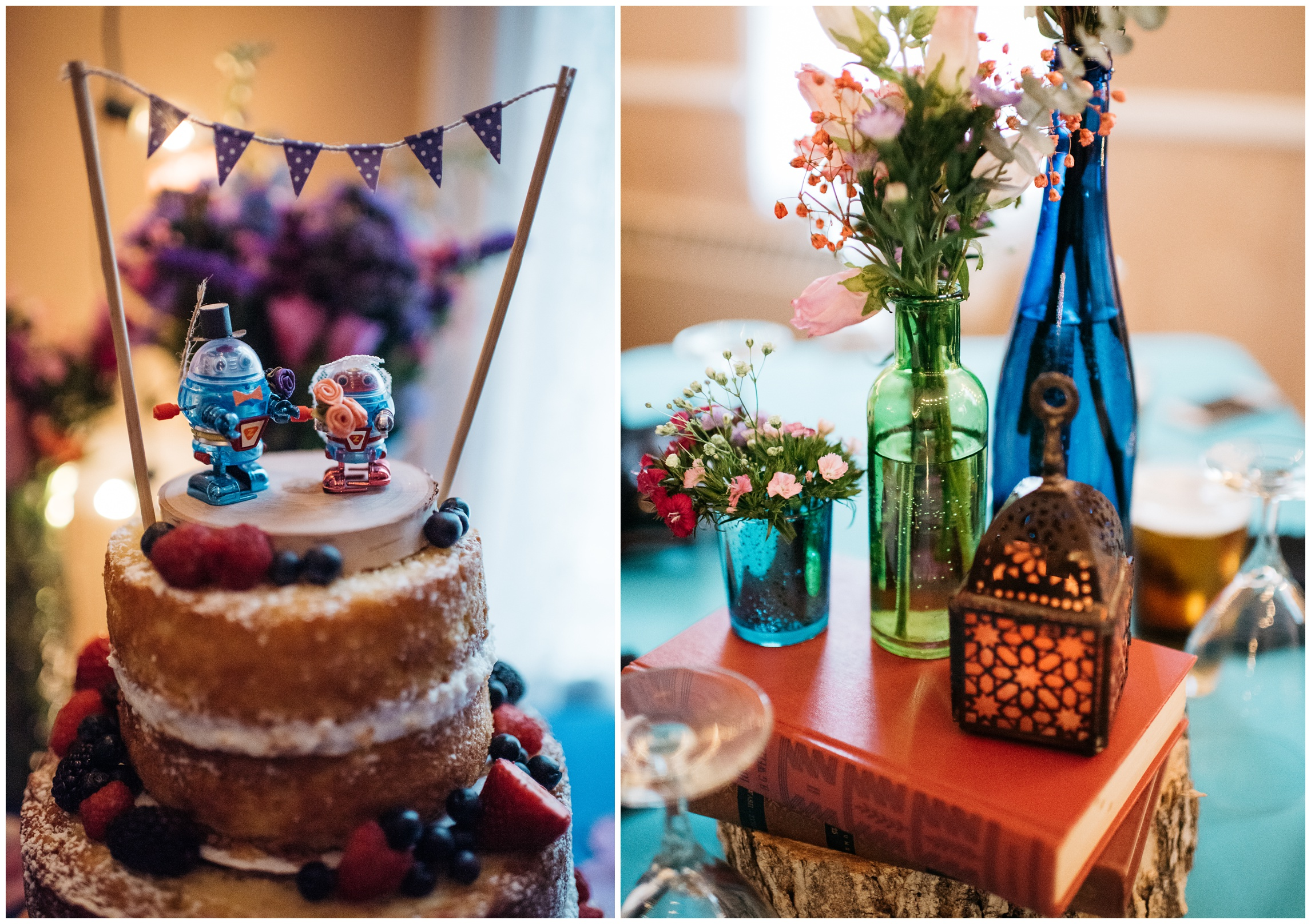 Wind up robot toys are used for a cake topper at this Georgetown, Colorado wedding. Wedding photography by Sonja Salzburg of Sonja K Photography.