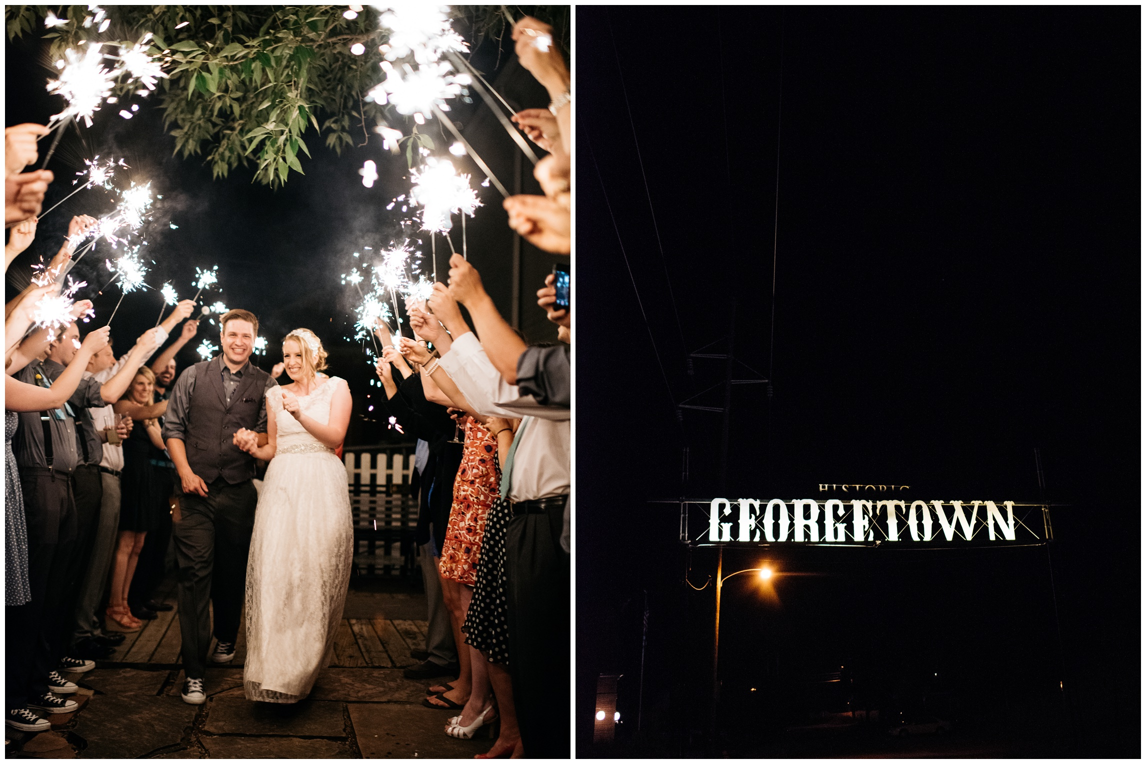 A bride and groom leave their wedding through a tunnel of sparklers. Wedding photography by Sonja Salzburg of Sonja K Photography.