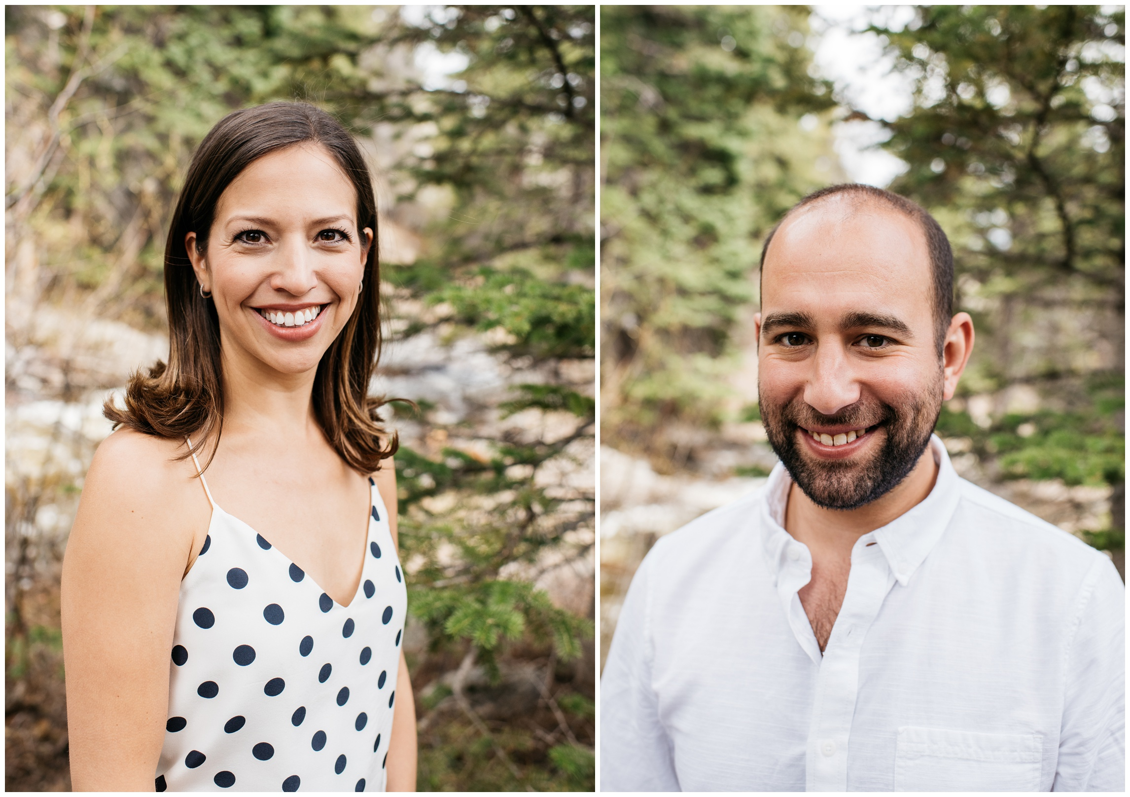 Head shots from an engaged couple at Sprague Lake in Rocky Mountain National Park, Colorado. Engagement photography by Sonja Salzburg of Sonja K Photography.