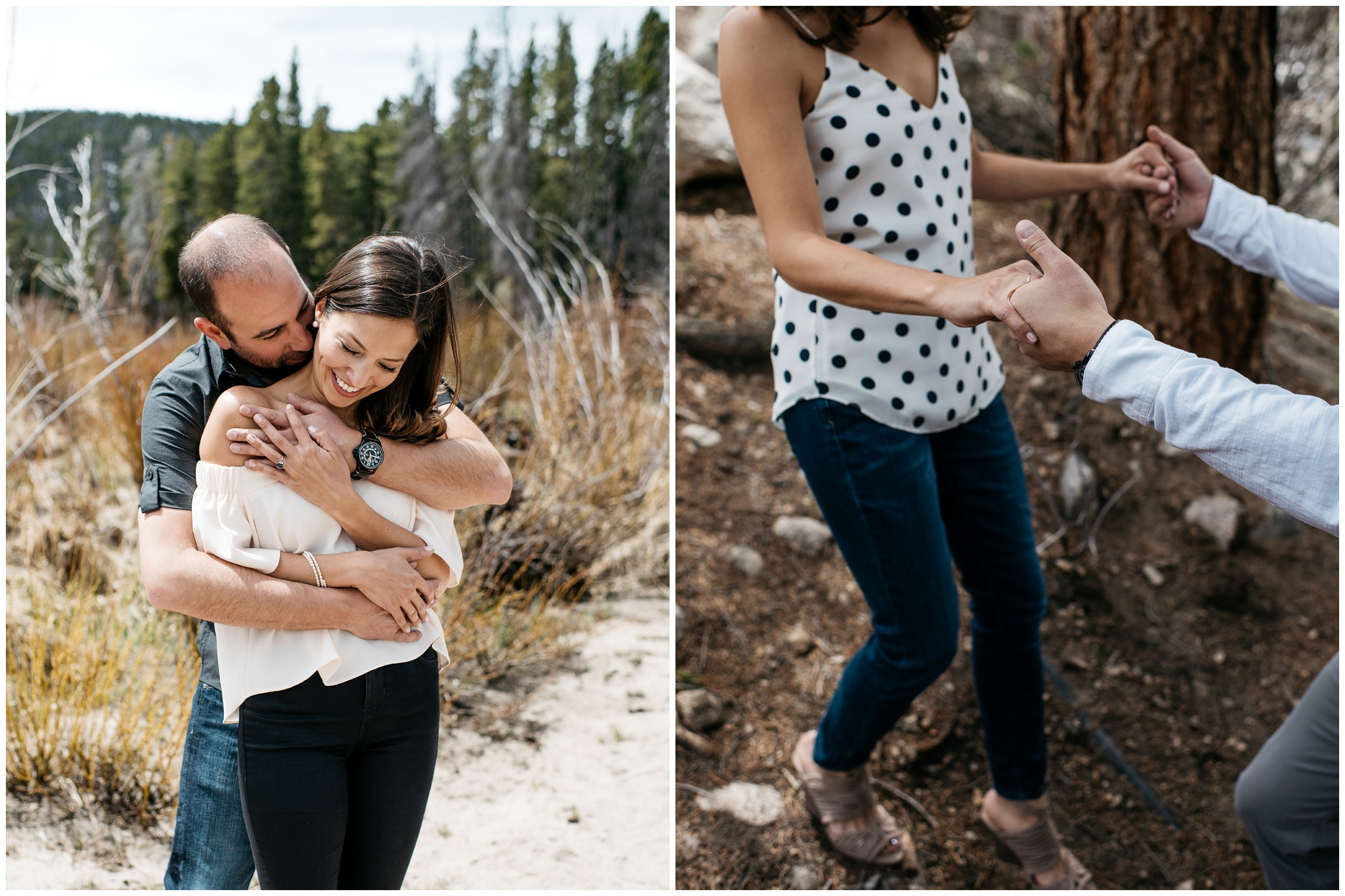 A young couple shares a loving embrace at Sprague Lake in Rocky Mountain National Park, Colorado. Engagement photography by Sonja Salzburg of Sonja K Photography.