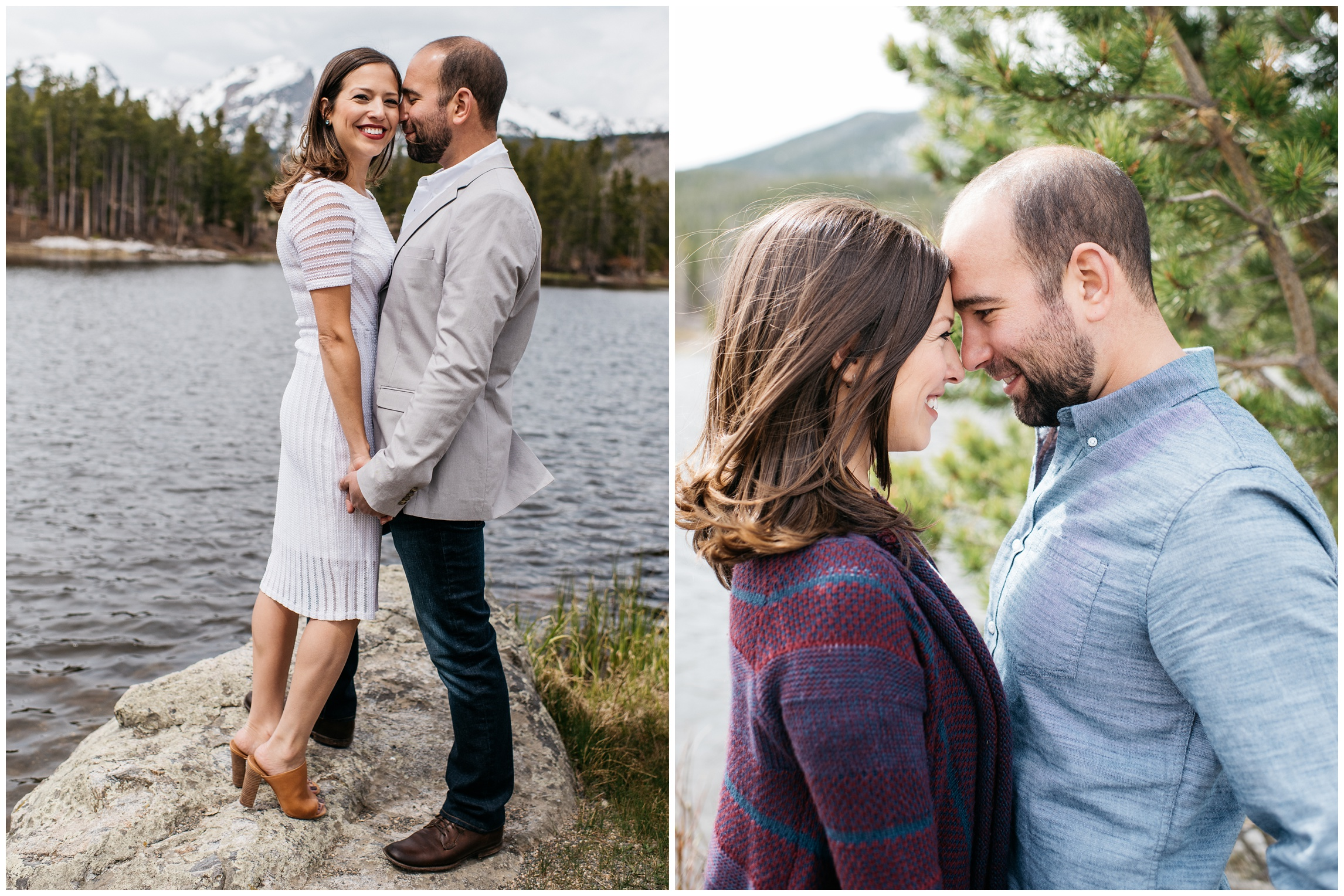 A young loving couple embraces at Sprague Lake in Rocky Mountain National Park, Colorado. Engagement photography by Sonja Salzburg of Sonja K Photography.
