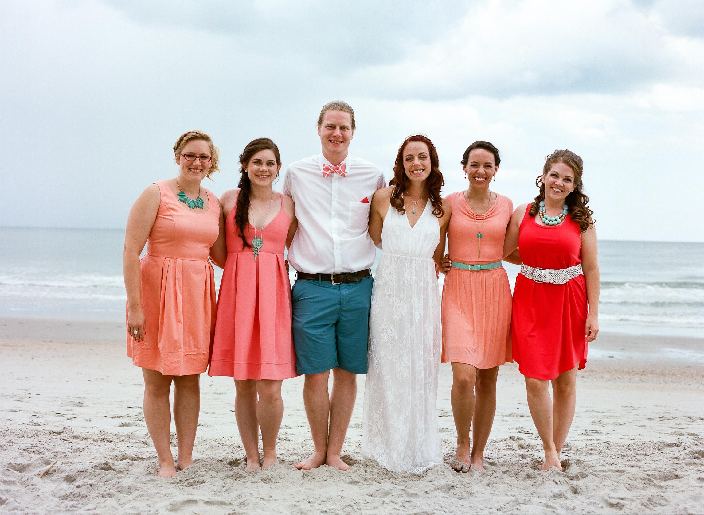 coral-dress-bridesmaids-atlantic-ocean-brother-myrtle-beach-south-carolina-Sonja-k-photography-sonjakphotography-honest-film-is-not-dead-best-fort-collins-northern-colorado-piedmont-good-creative-front-range-wedding-photographer-salzburg-rocky-mountains-meet-the-plains-look-portraits-family-southern-travel-destination-wyoming-artistic-denver-boulder-natural-lgbtq-gay-new-orleans-berlin-california-oakland-bride-groom-couple-outdoor-loveland-windsor-mountain-national-park-longmont-berthoud-bridal-party