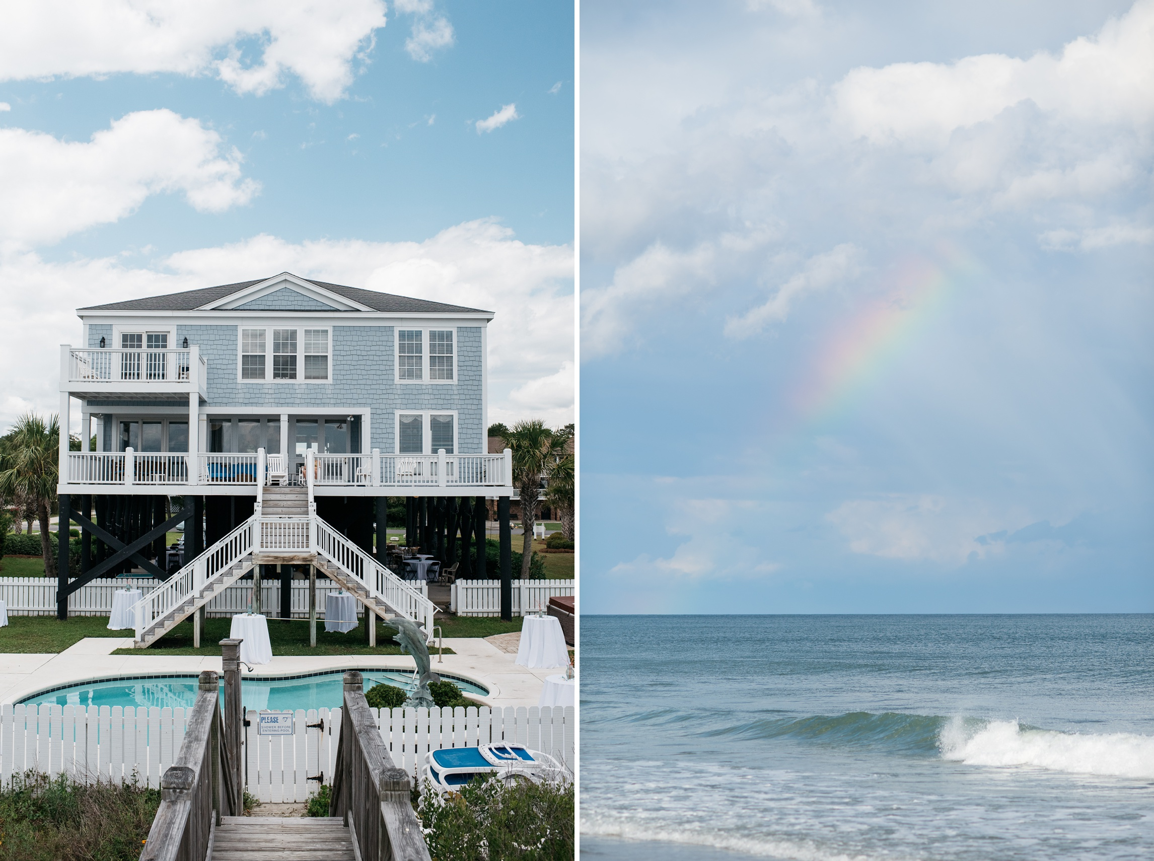 the beautiful beach house (mansion) that served as the wedding venue on Myrtle Beach, and the rainbow that arched over the ceremony - photography by Sonja Salzburg of Sonja K Photography.