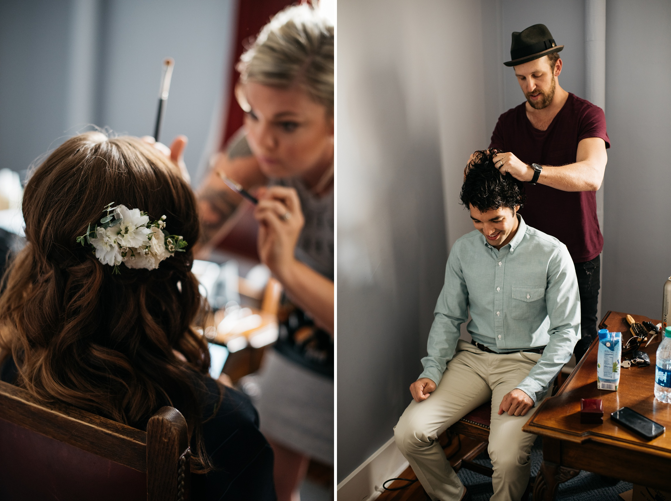 A bride and groom get ready for their wedding day. Wedding photography by Sonja Salzburg of Sonja K Photography.