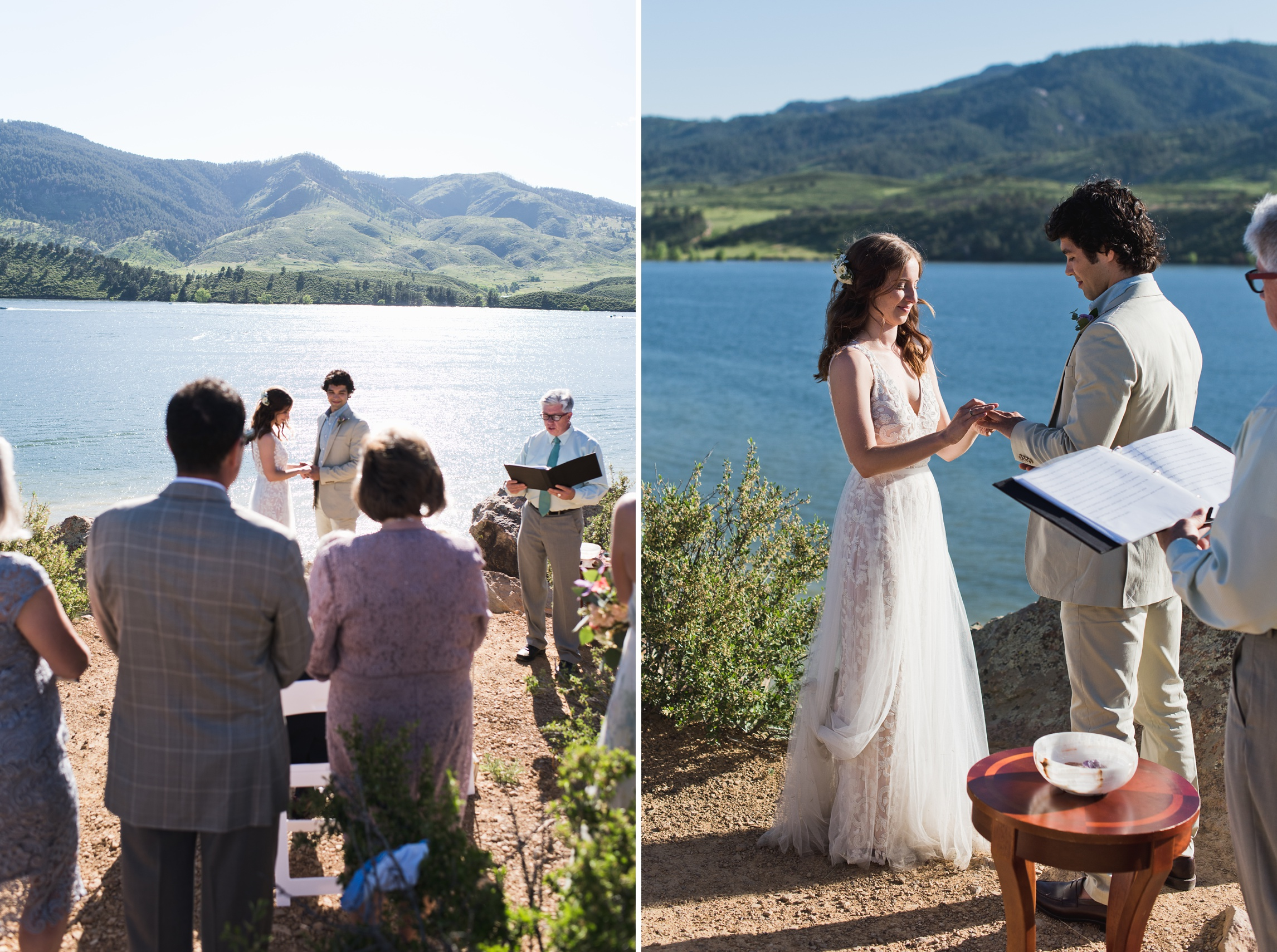 A bride and groom get married overlooking Horsetooth Reservoir in Fort Collins, Colorado. Wedding photography by Sonja Salzburg of Sonja K Photography.