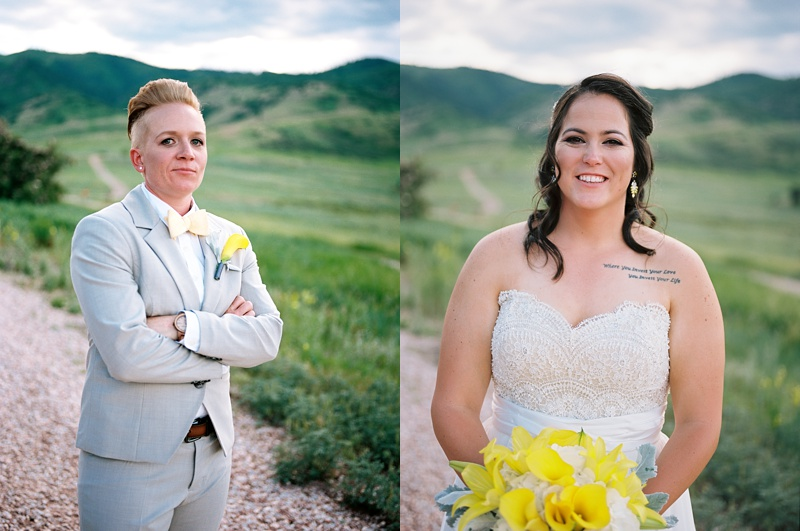 Newly married women at The Manor House in Ken-Caryl Ranch, Colorado. Wedding photography by Sonja Salzburg of Sonja K Photography.