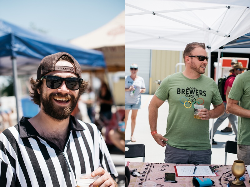 A referee and a judge at the 5th Annual Fort Collins Beer Week Brewers Olympics presented by Fortified Collaborations at Go West T-Shirt Company. Event photography by Sonja Salzburg of Sonja K Photography.