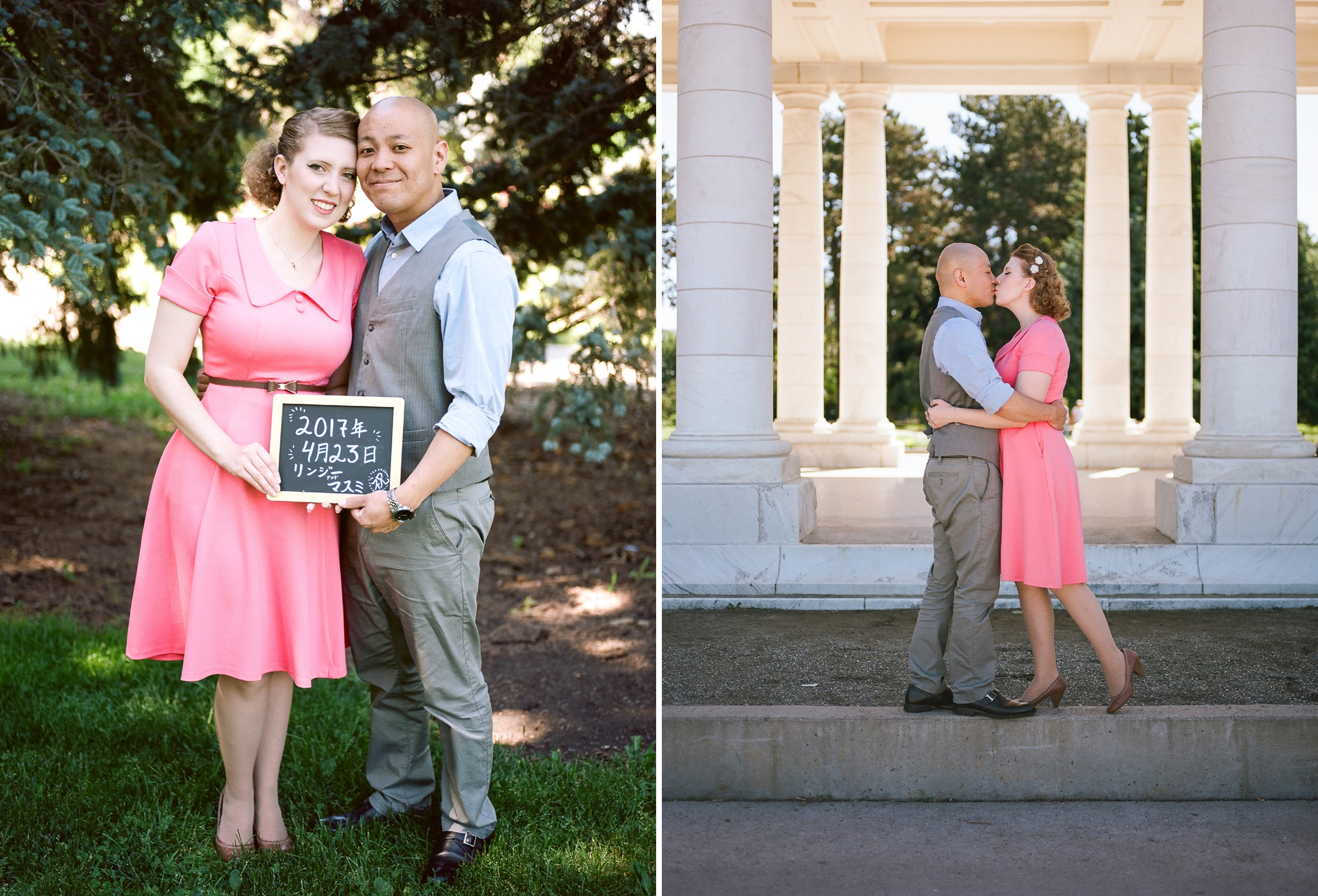 A cute engaged couple in Cheesman Park in Denver, Colorado. Engagement photography by Sonja Salzburg of Sonja K Photography.