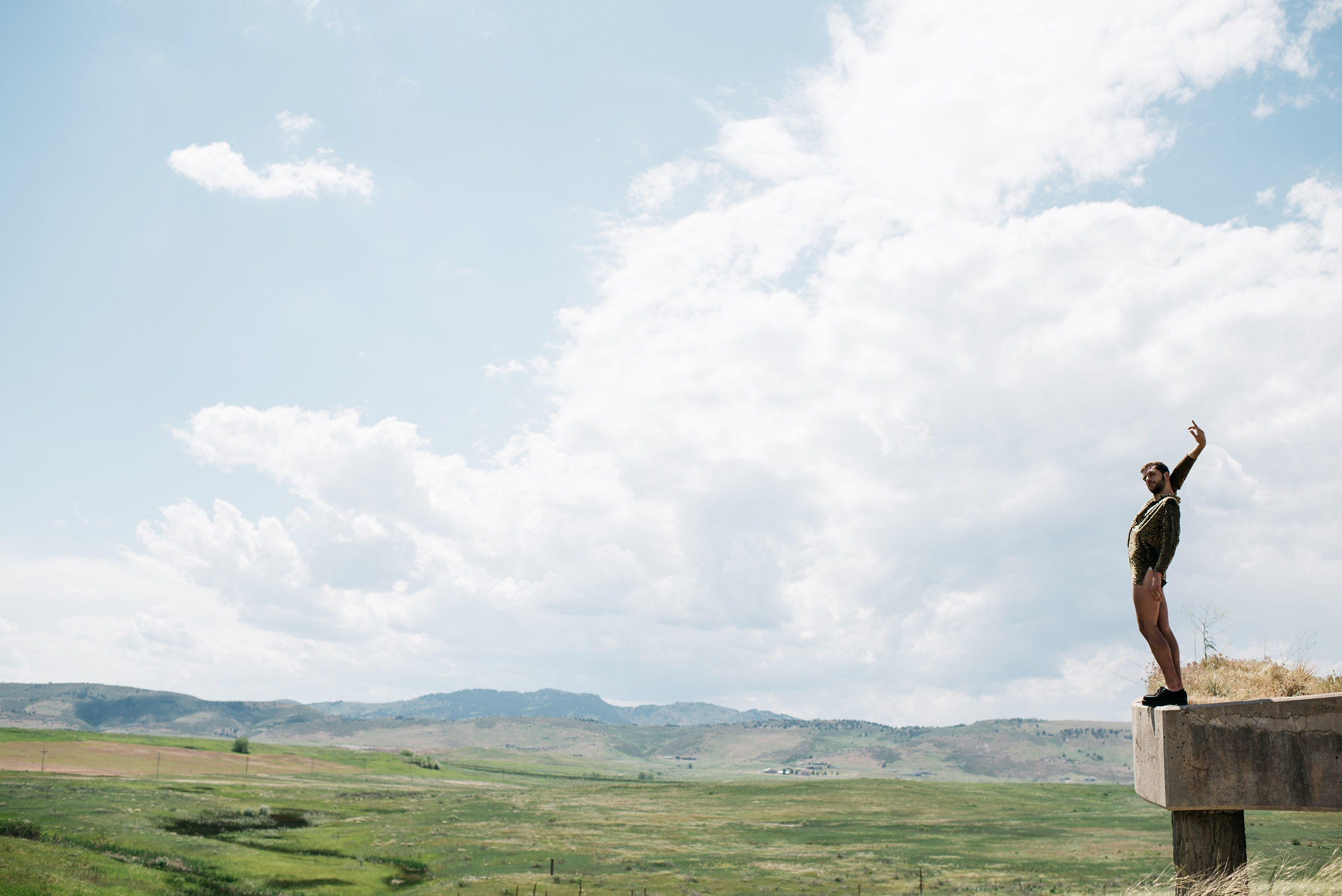 Ryan Page, dancer, against a sweeping Colorado backdrop. Photography by Sonja Salzburg of Sonja K Photography.