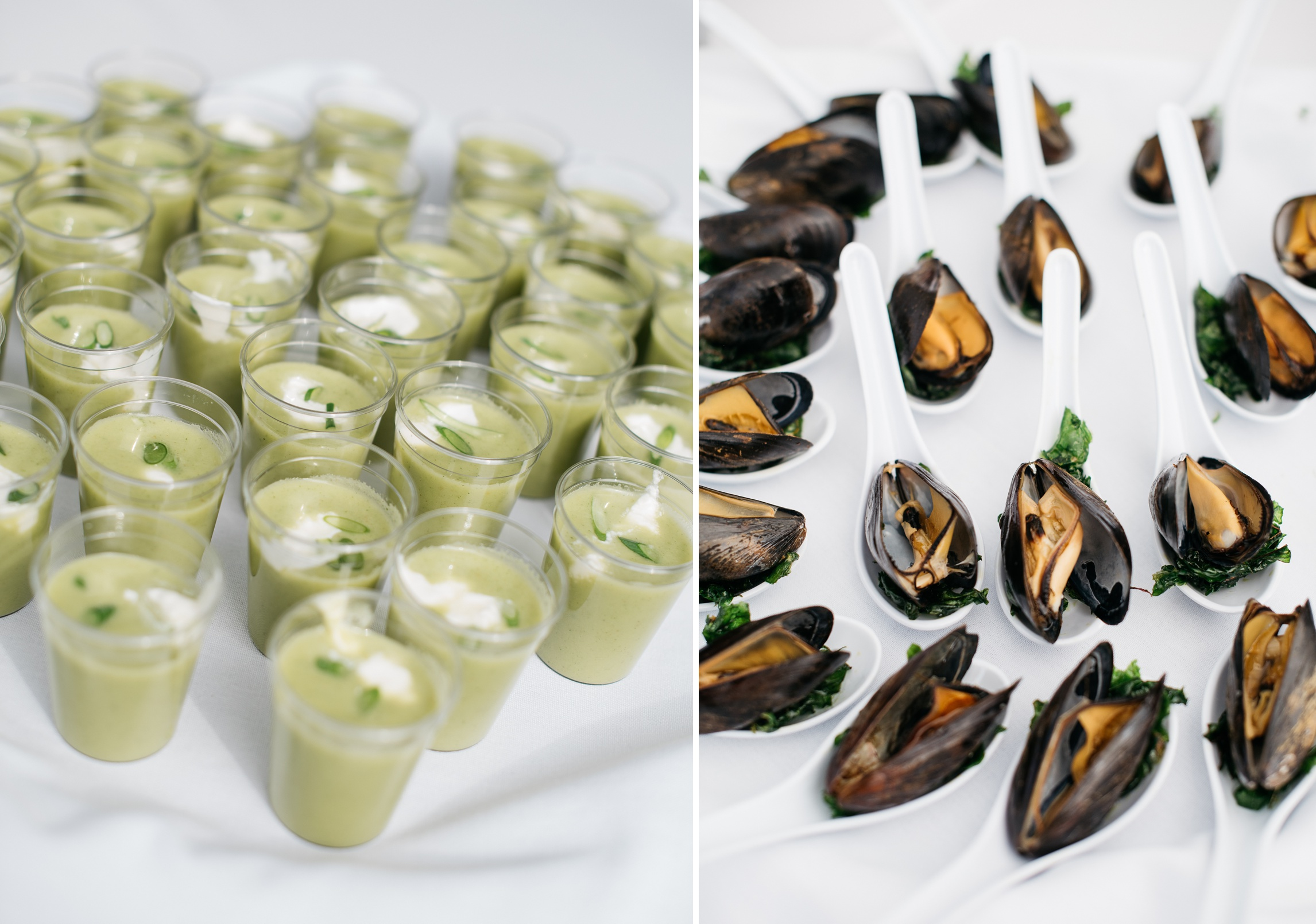 Chilled soup shooters and smoked mussels at the Fortified Collaborations Heart of Summer Dinner at Happy Heart Farm in Fort Collins, Colorado. Food by Fish Restaurant and Market.Event photography by Sonja Salzburg of Sonja K Photography.