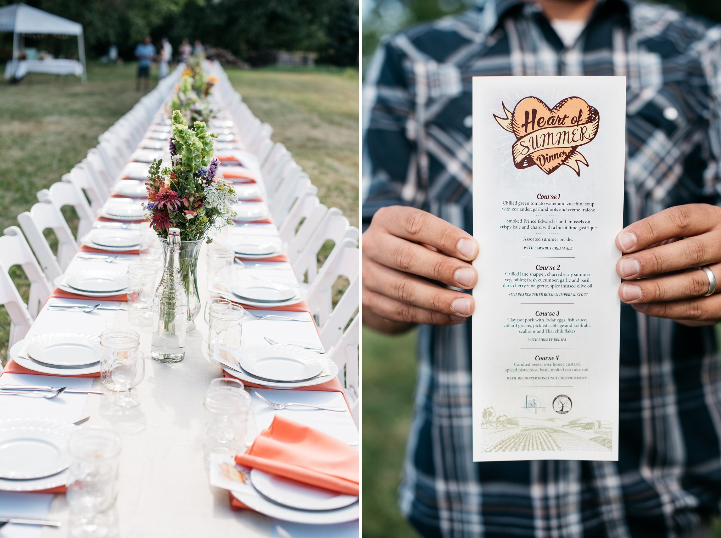 The table and the menu from the Fortified Collaborations Heart of Summer Farm Dinner at Happy Heart Farm in Fort Collins, Colorado. Event photography by Sonja Salzburg of Sonja K Photography.
