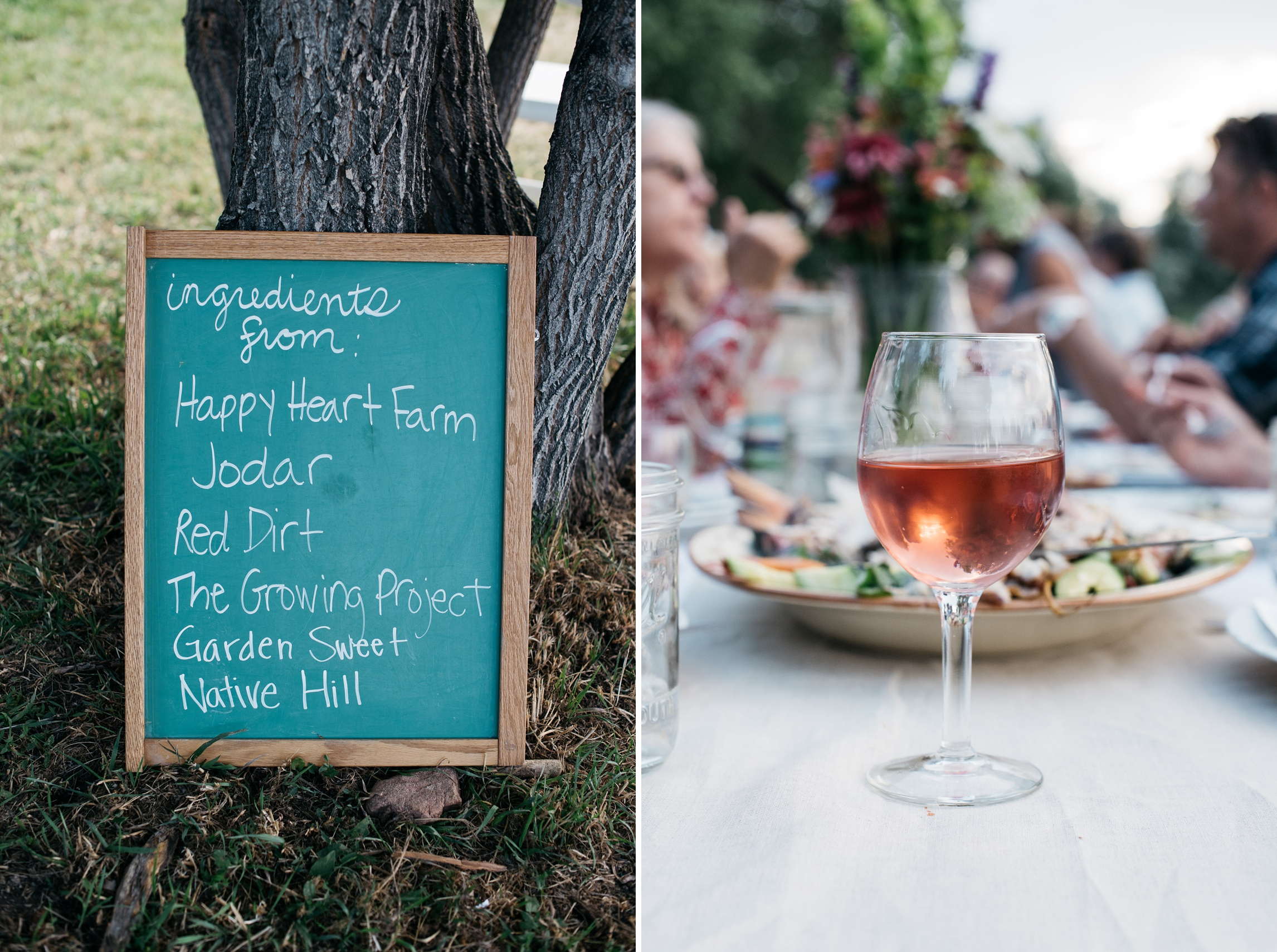 The farms who participated and a refreshing glass of wine at the Fortified Collaborations Heart of Summer Farm Dinner. Event photography by Sonja Salzburg of Sonja K Photography.