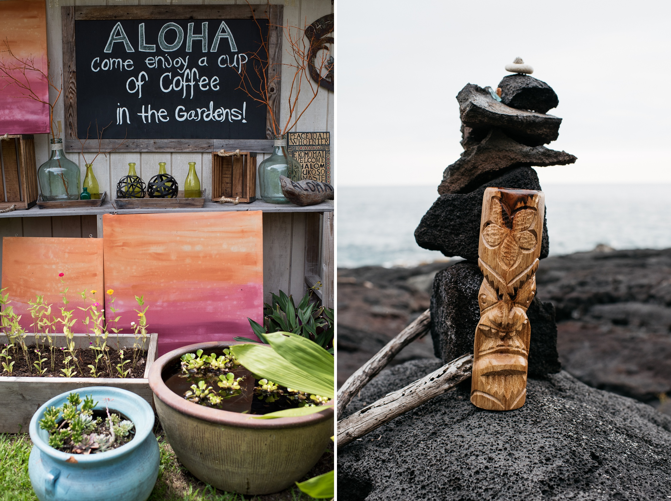 A sign to enjoy coffee in the gardens and a tiki carving rests near the ocean in Naalehu, Hawaii. Photography by Sonja Salzburg of Sonja K Photography.