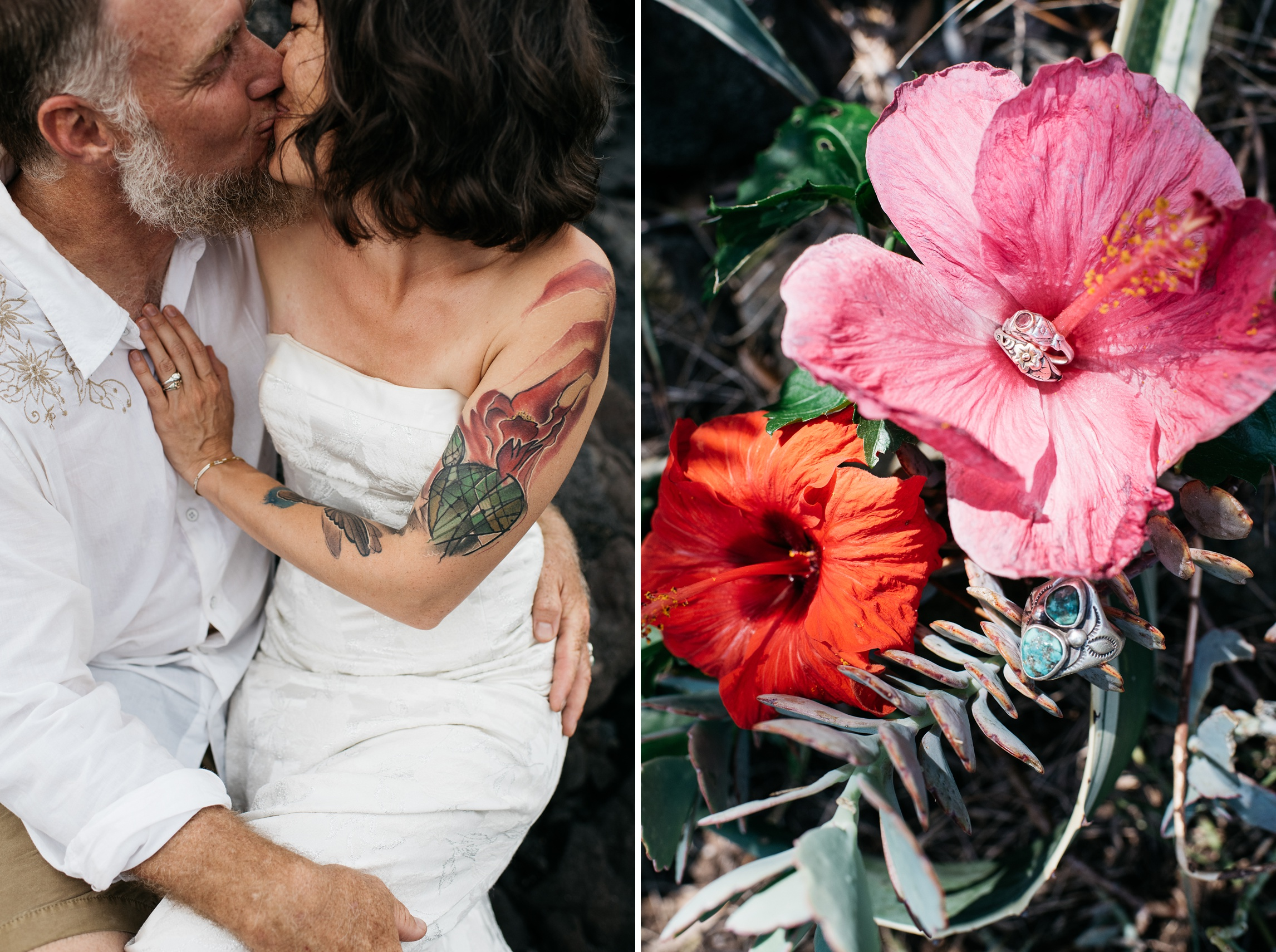 Dan and Maarit kiss on a beautiful lava beach. Dan and Maarits' wedding rings on a tropical flower near Naalehu, Hawaii. Anniversary portraits by Sonja Salzburg of Sonja K Photography.