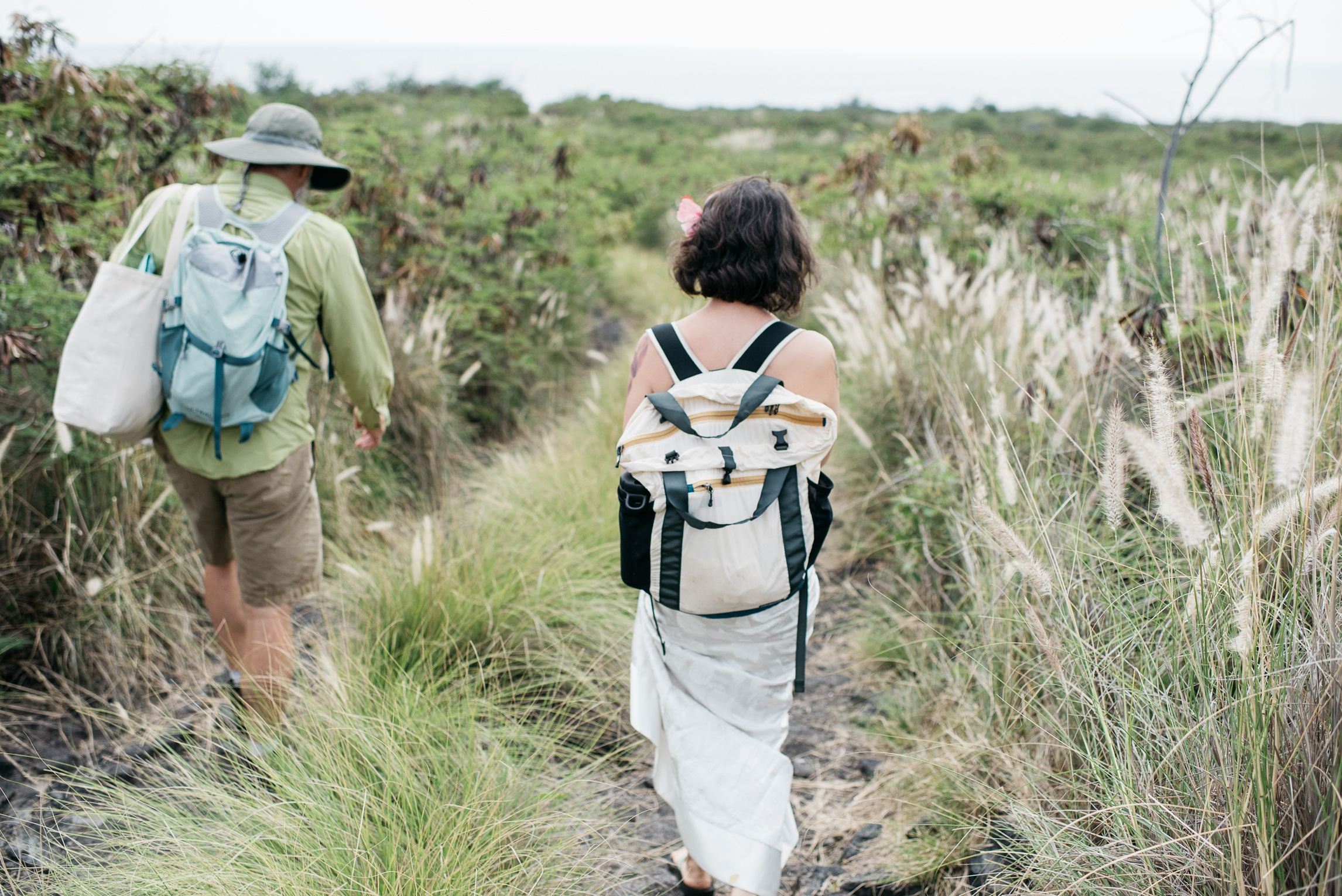 Dan and Maarit hike though the long grass to the lava beach near Naalehu, Big Island of Hawaii. Anniversary portrait photography by Sonja Salzburg of Sonja K Photography.
