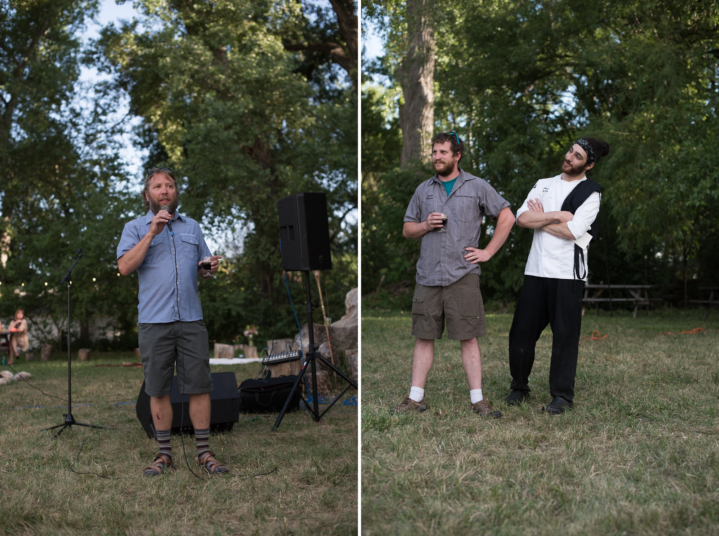 Colin from Equinox Brewing talks about his awesome beer at the Fortified Heart of Summer Farm Dinner at Happy Heart Farm in Fort Collins, Colorado. Event photography by Sonja Salzburg of Sonja K Photography.
