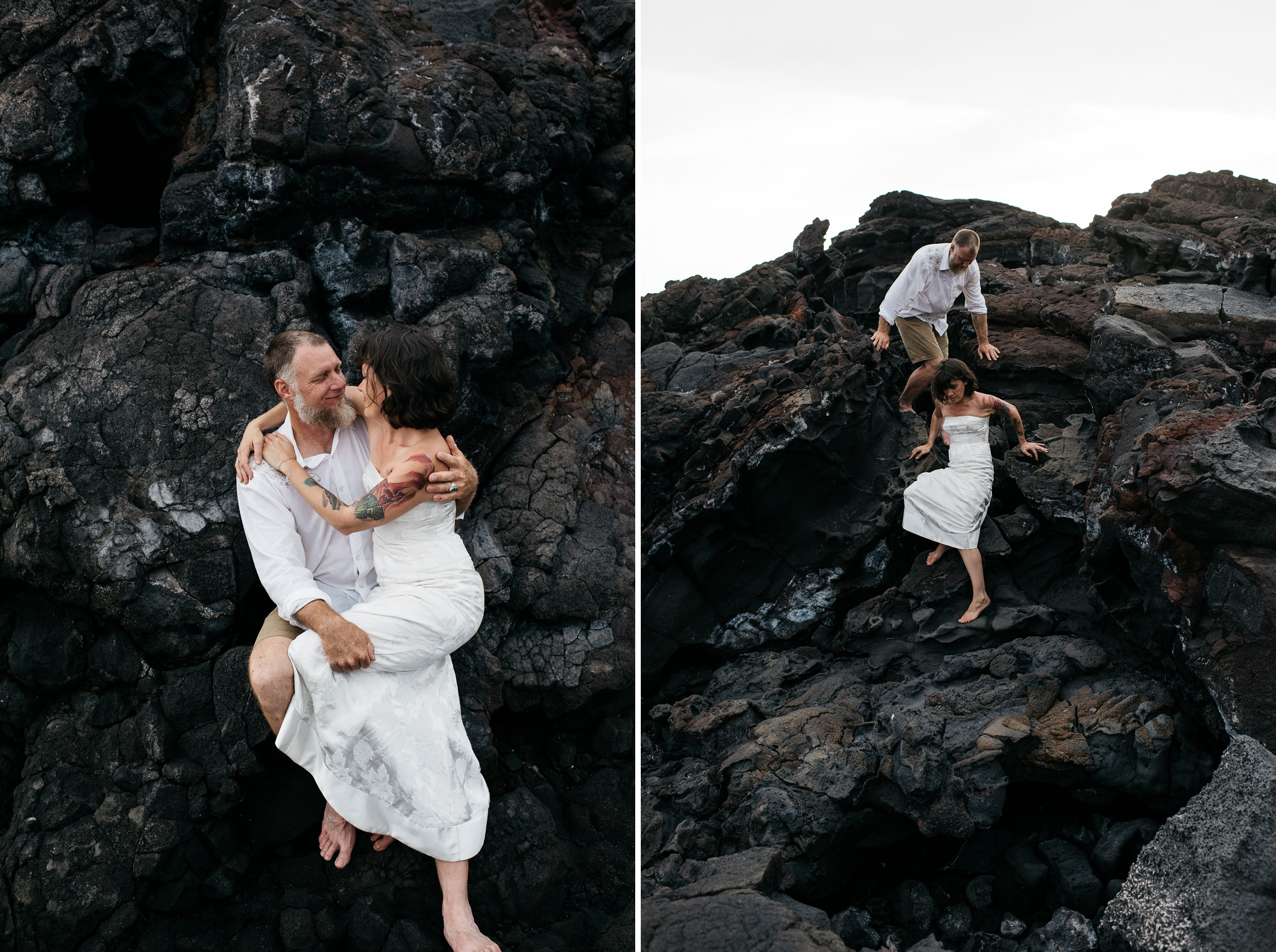 Dan and Maarit embrace on the lava beach near Naalehu, Hawaii. Anniversary portrait photography by Sonja Salzburg of Sonja K Photography.