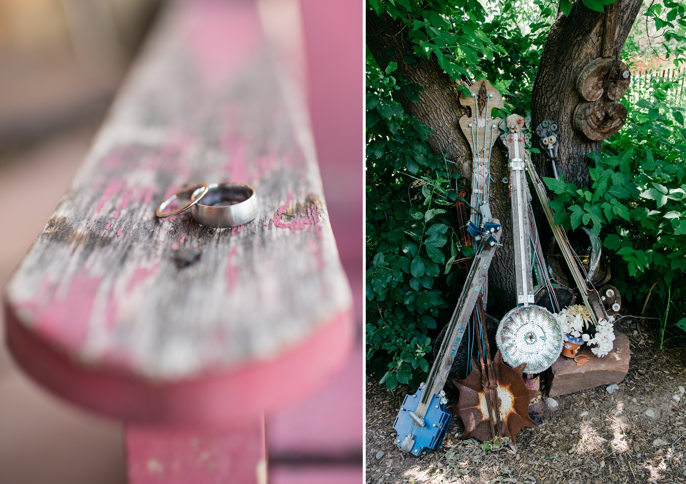 The rings and banjo yard art at Planet Bluegrass in Lyons, Colorado. Wedding photography by Sonja and Max Salzburg of Sonja K Photography.