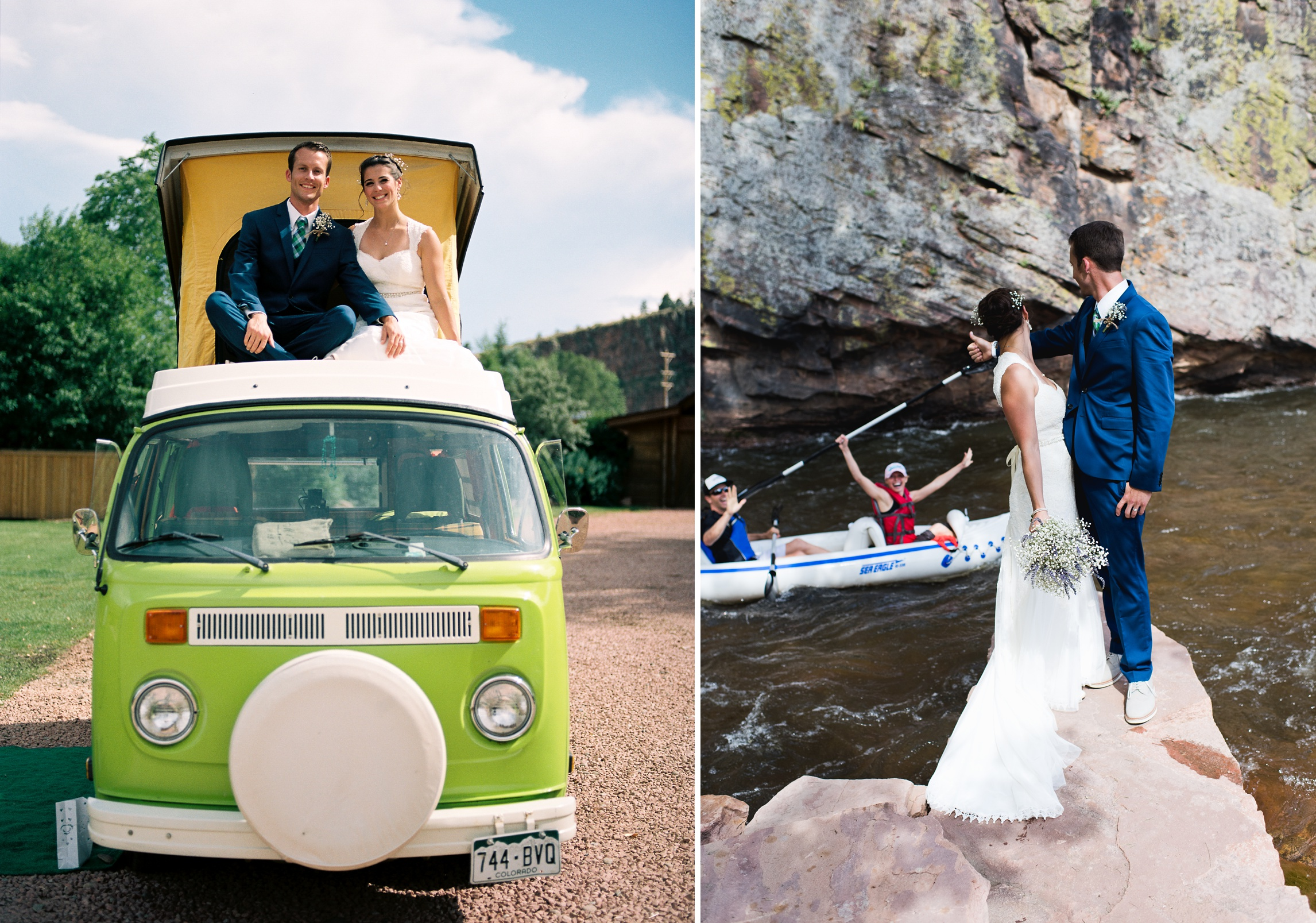 A bride and a groom on their vintage Volkswagen Bus at Planet Bluegrass in Lyons, Colorado. Kayakers invade the wedding shoot. Wedding photography by Sonja Salzburg of Sonja K Photography.