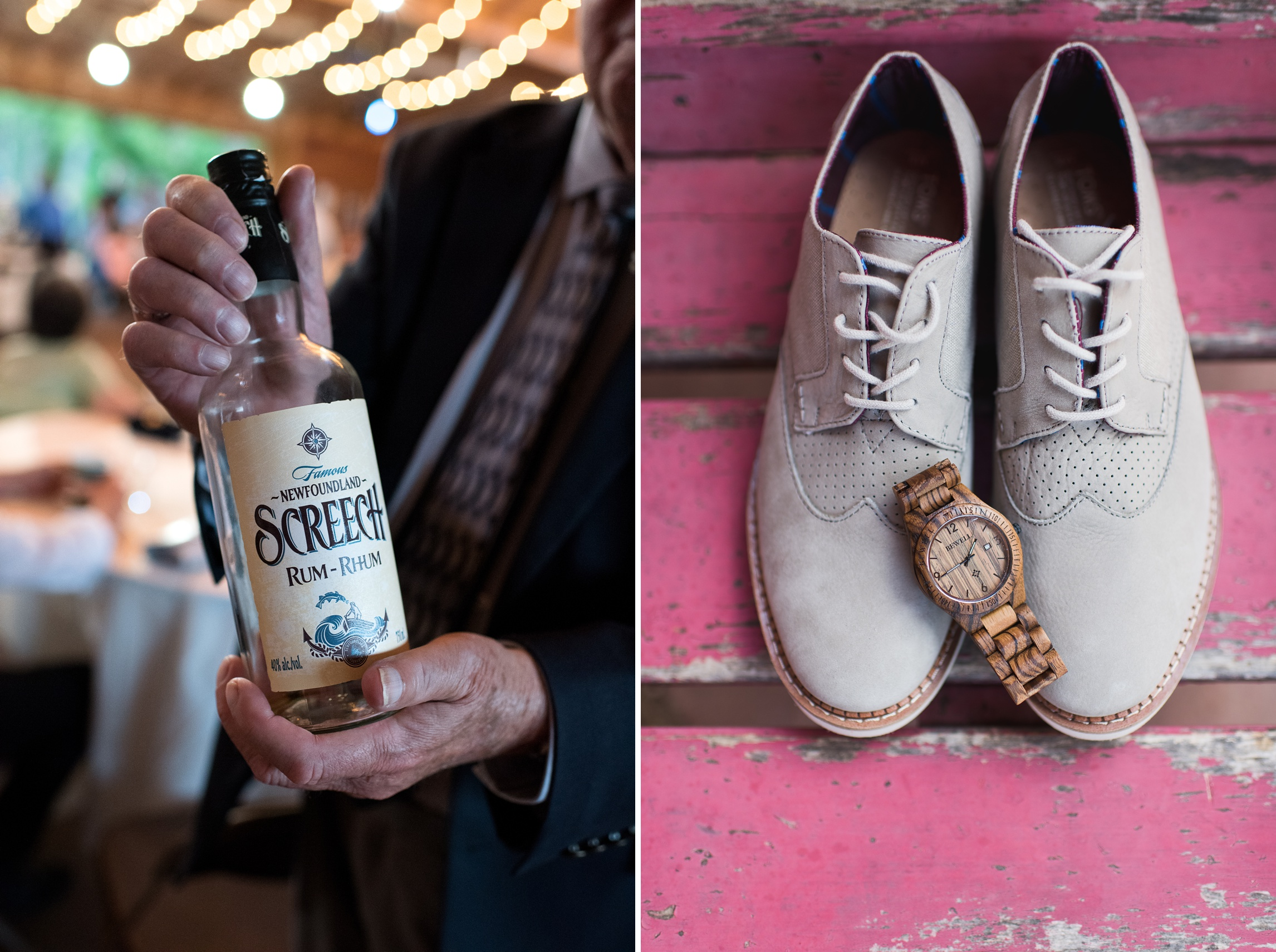 A bottle of Newfoundland Screech Rum and the grooms shoes and watch. Wedding detail photography by Sonja Salzburg of Sonja K Photography.