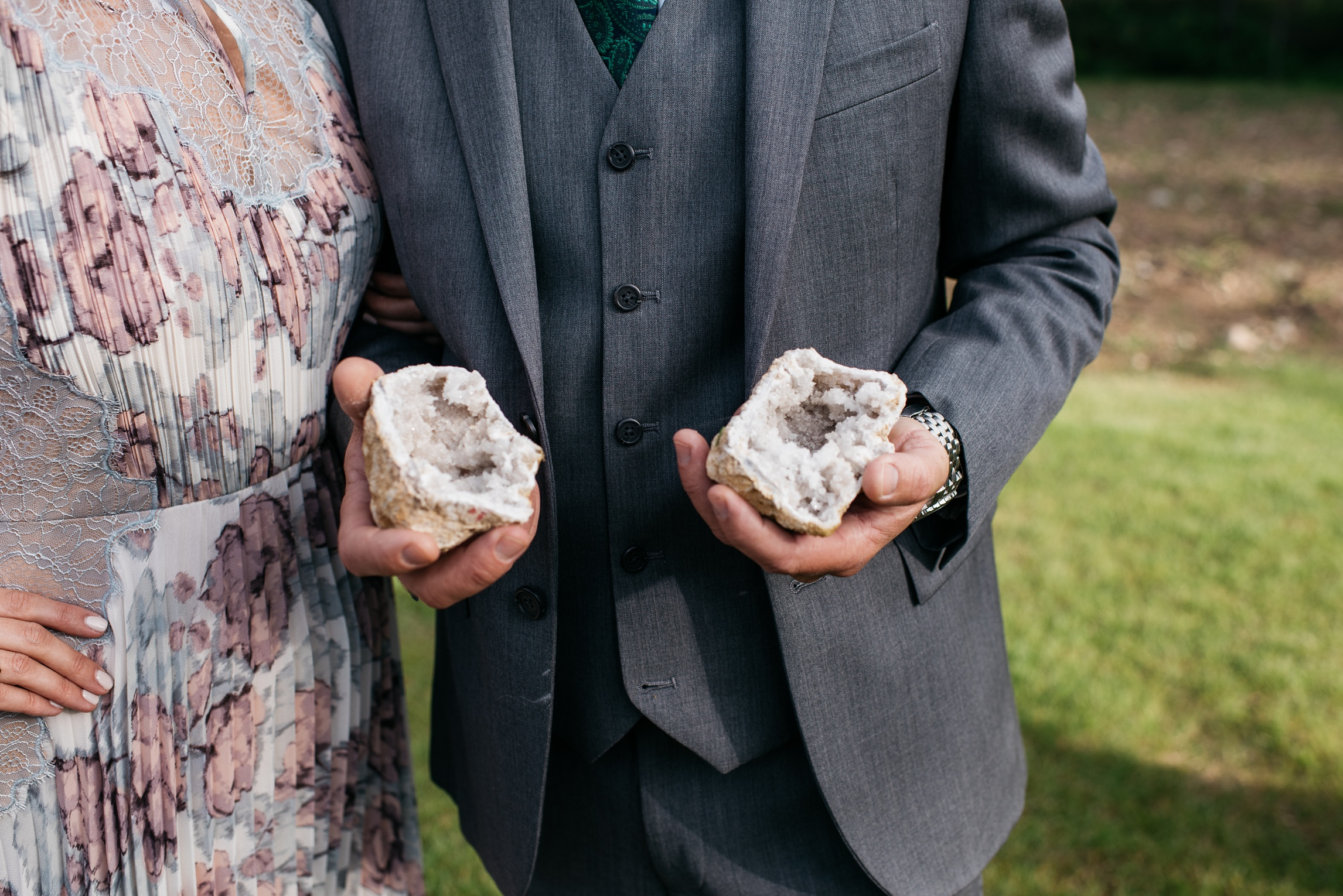 A geode from a wedding at Camp Hale near Vail, Colorado. Wedding photography by Sonja Salzburg of Sonja K Photography.