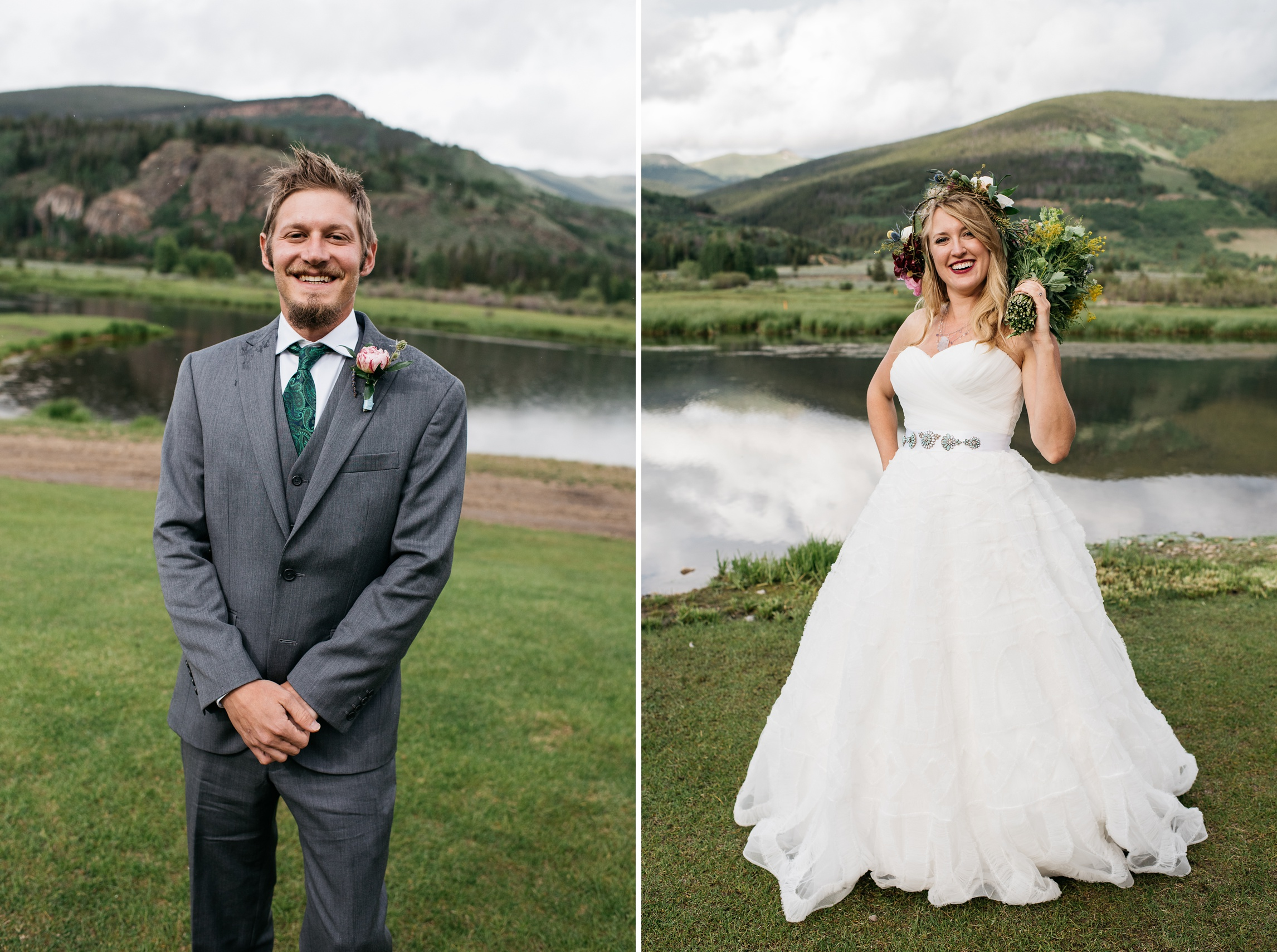 A groom and a bride on their wedding day at Camp Hale near Vail, Colorado. Wedding photography by Sonja Salzburg of Sonja K Photography.