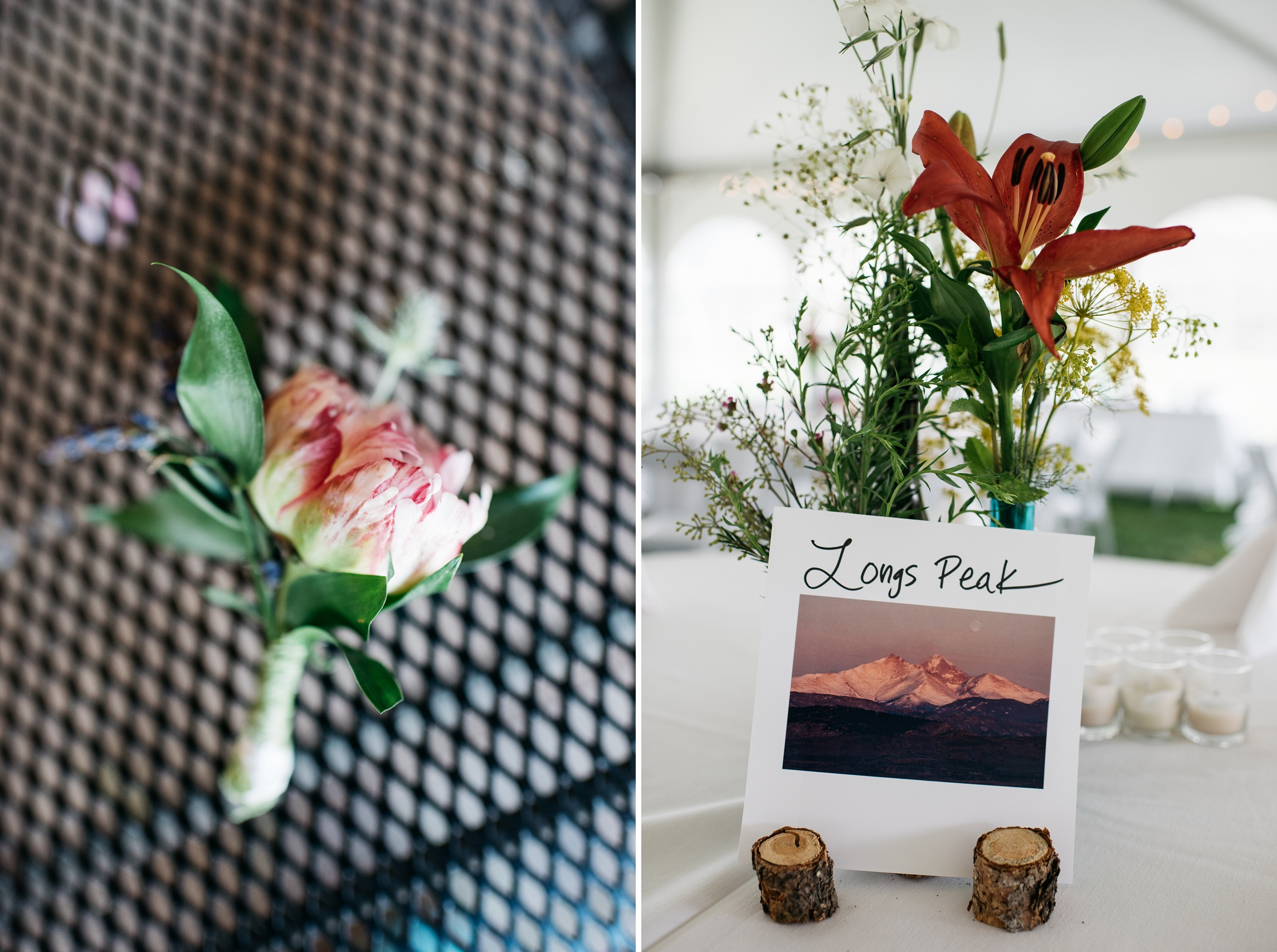 Detail shots from a wedding at Camp Hale near Vail, Colorado. Wedding photography by Sonja Salzburg of Sonja K Photography.