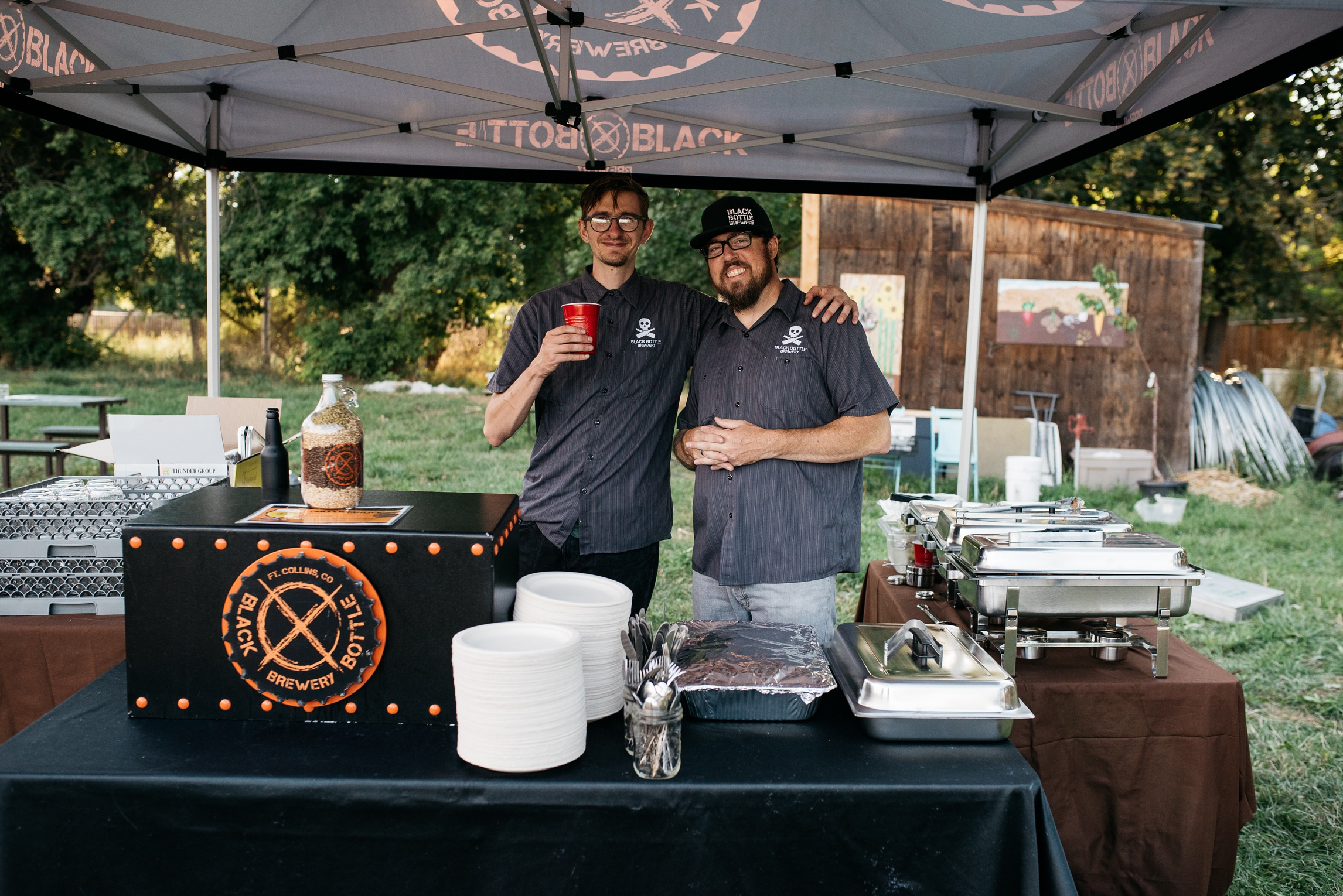 The crew from Black Bottle Brewery at the 3 Forks Progressive Farm Dinner presented by Fortified Collaborations. Event photography by Sonja Salzburg of Sonja K Photography.