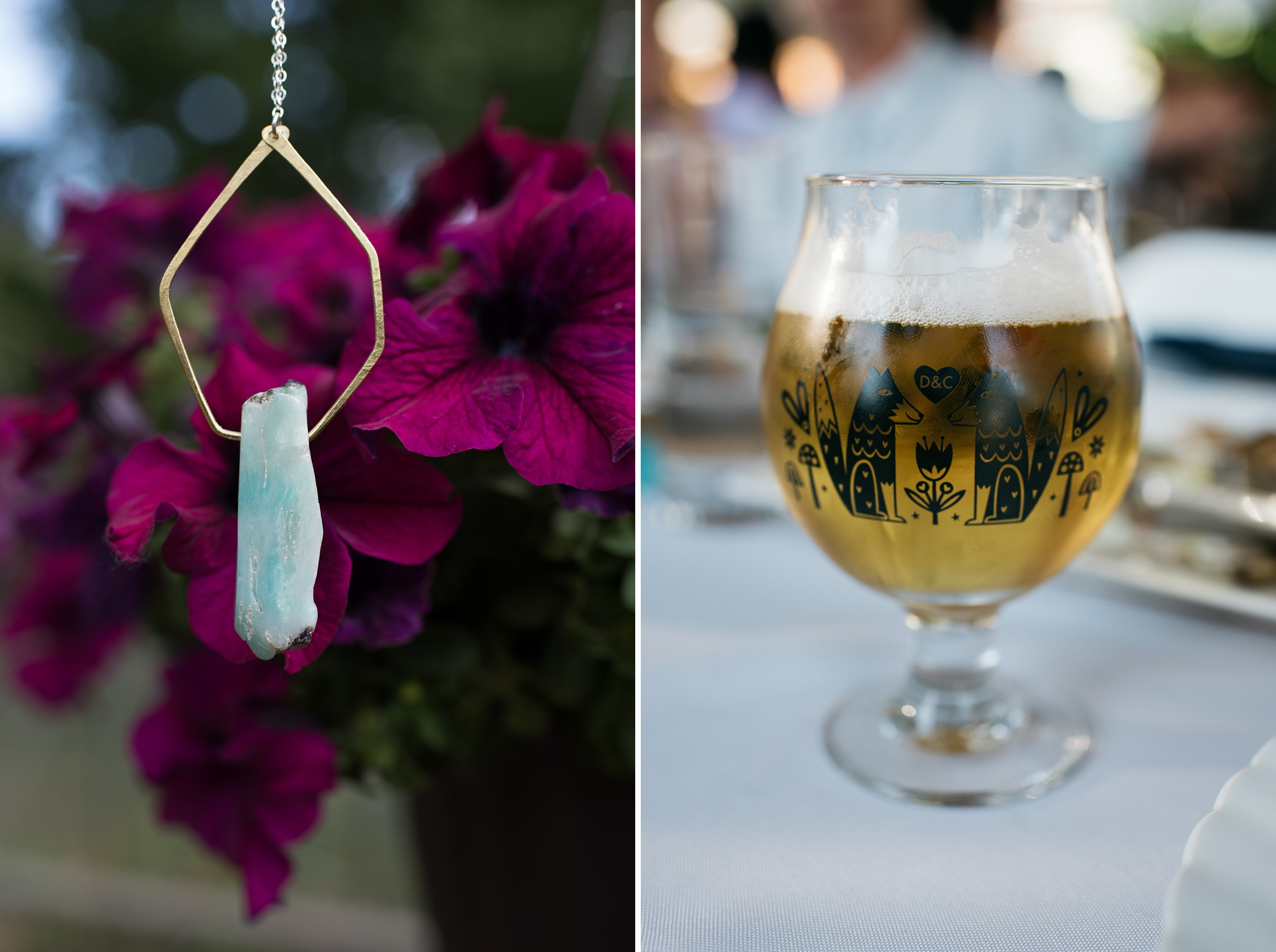 A bright blue handmade pendant and specially made pint glasses with art by Allie Ogg of Fort Collins, Colorado. Wedding photography by Sonja Salzburg of Sonja K Photography.